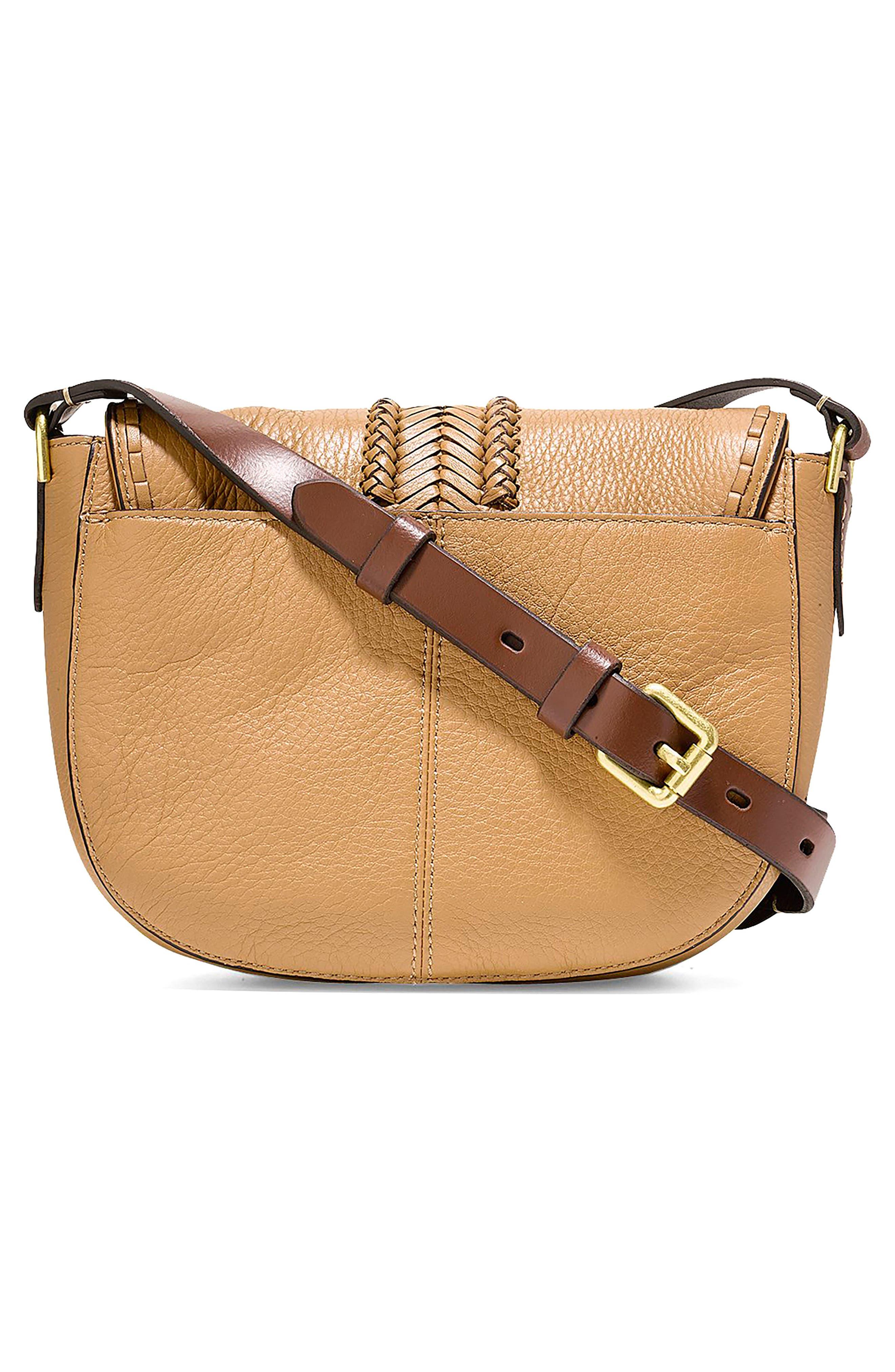 Mini Loralie Whipstitch Leather Saddle Bag,                             Alternate thumbnail 6, color,