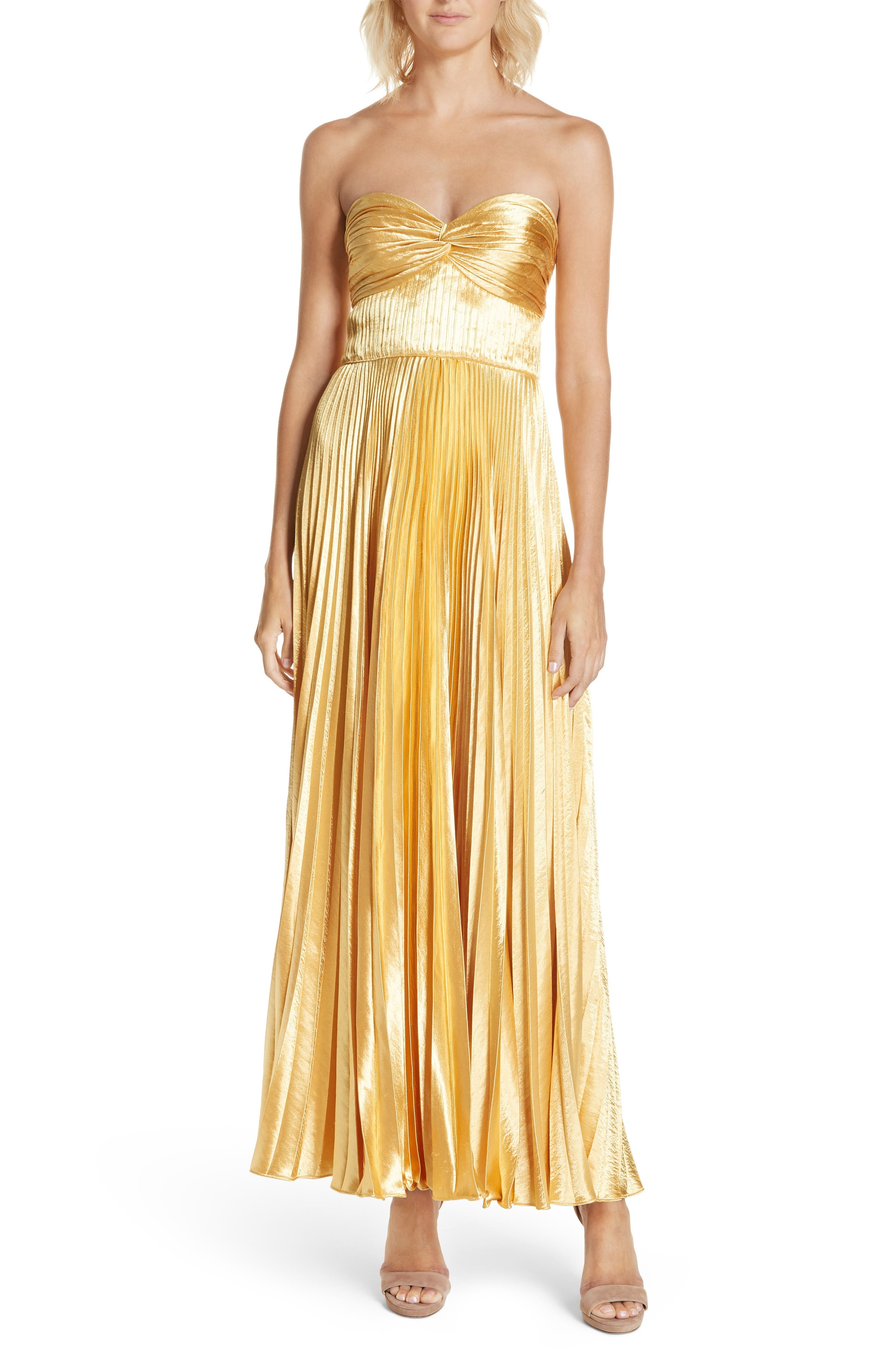 AMUR Belle Pleated Satin Strapless Gown in Gold