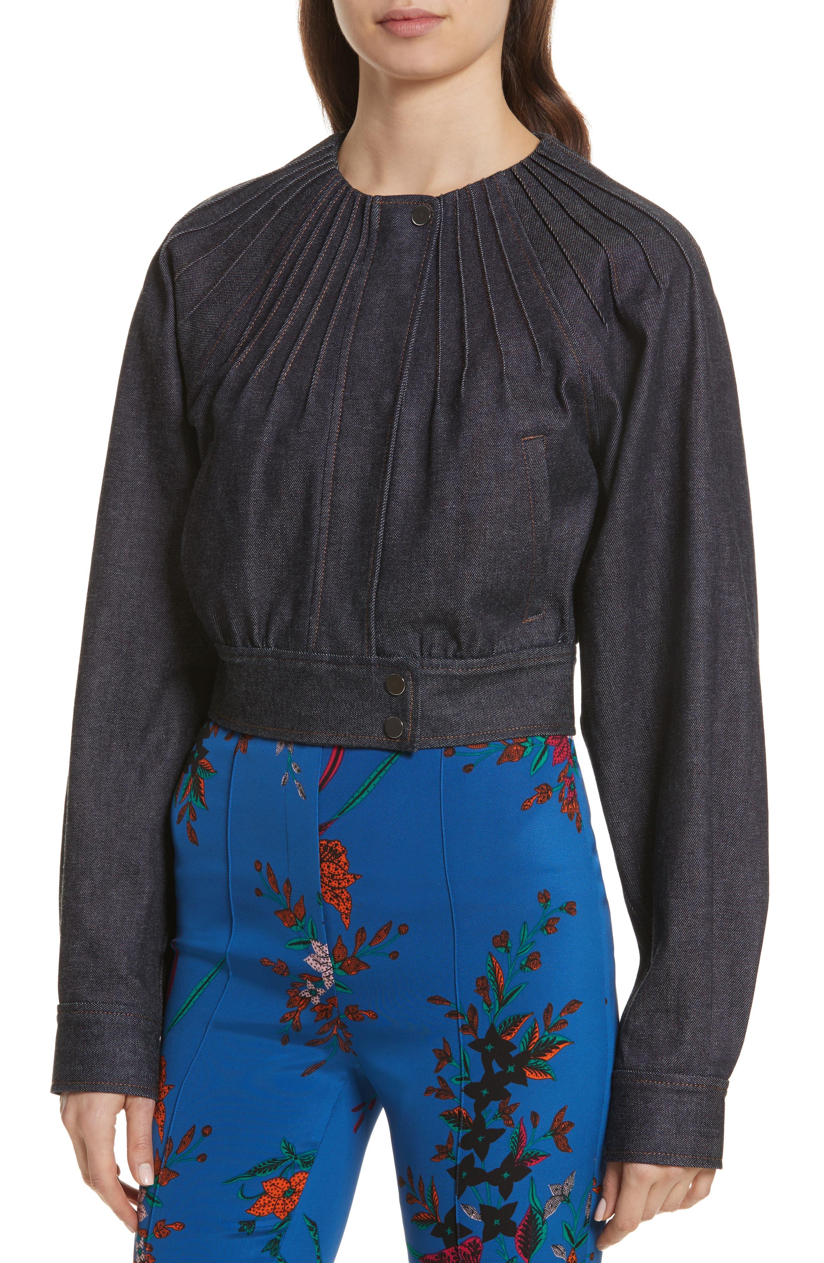 Diane von Furstenberg Pintuck Denim Jacket,                             Alternate thumbnail 4, color,                             400