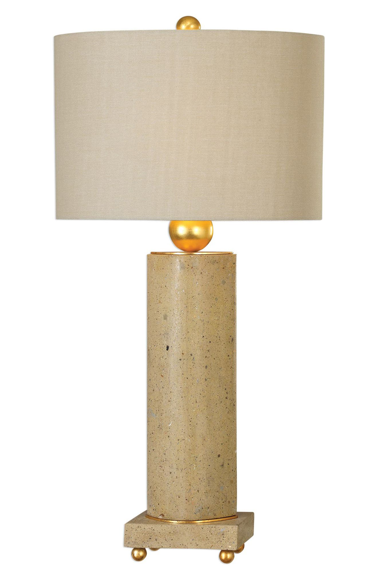 Krisel Oval Column Lamp,                             Main thumbnail 1, color,                             STEEL W GOLD LEAF/ BEIGE SHADE