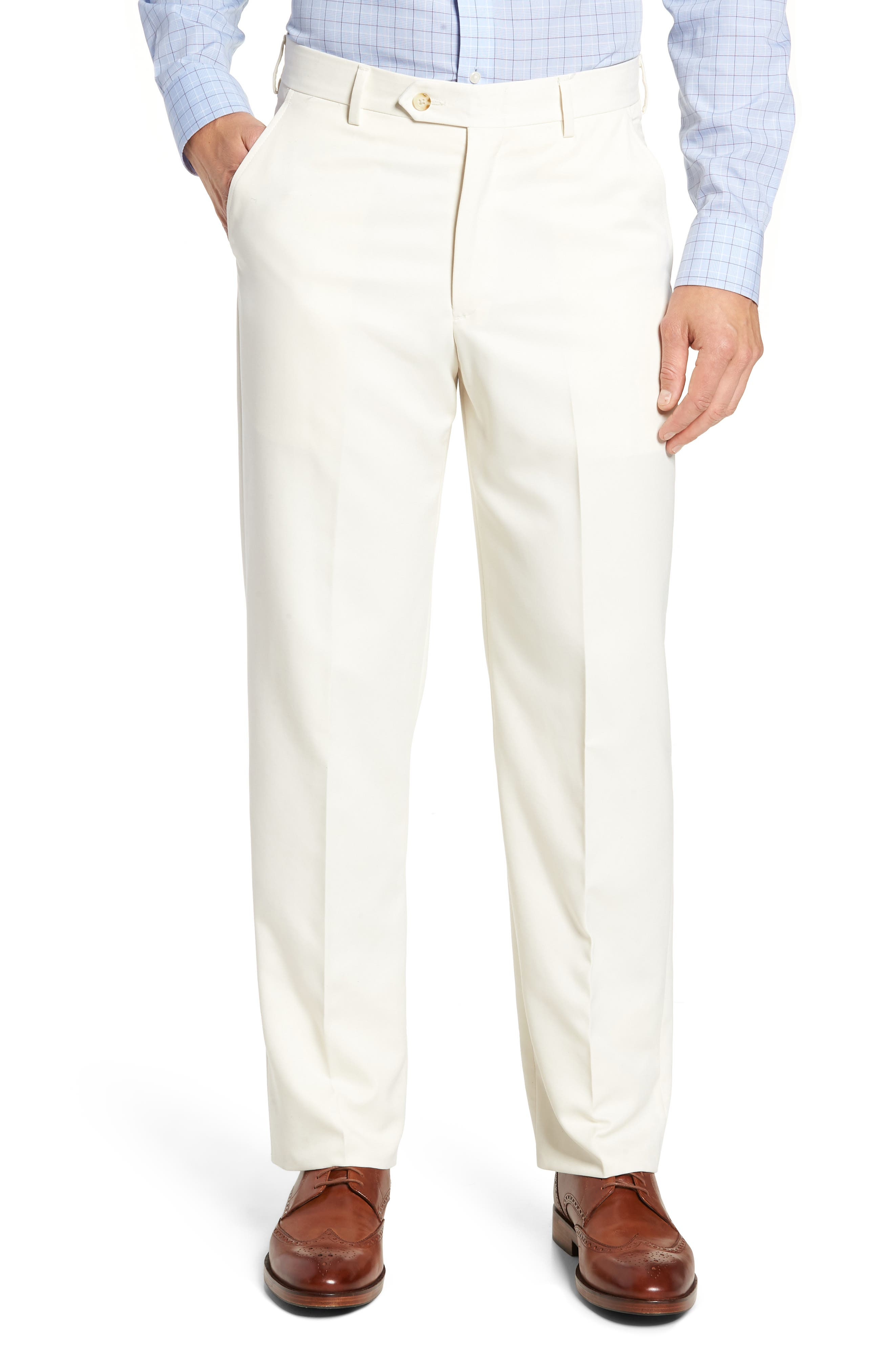 Classic Fit Flat Front Microfiber Performance Trousers,                         Main,                         color, OFF WHITE