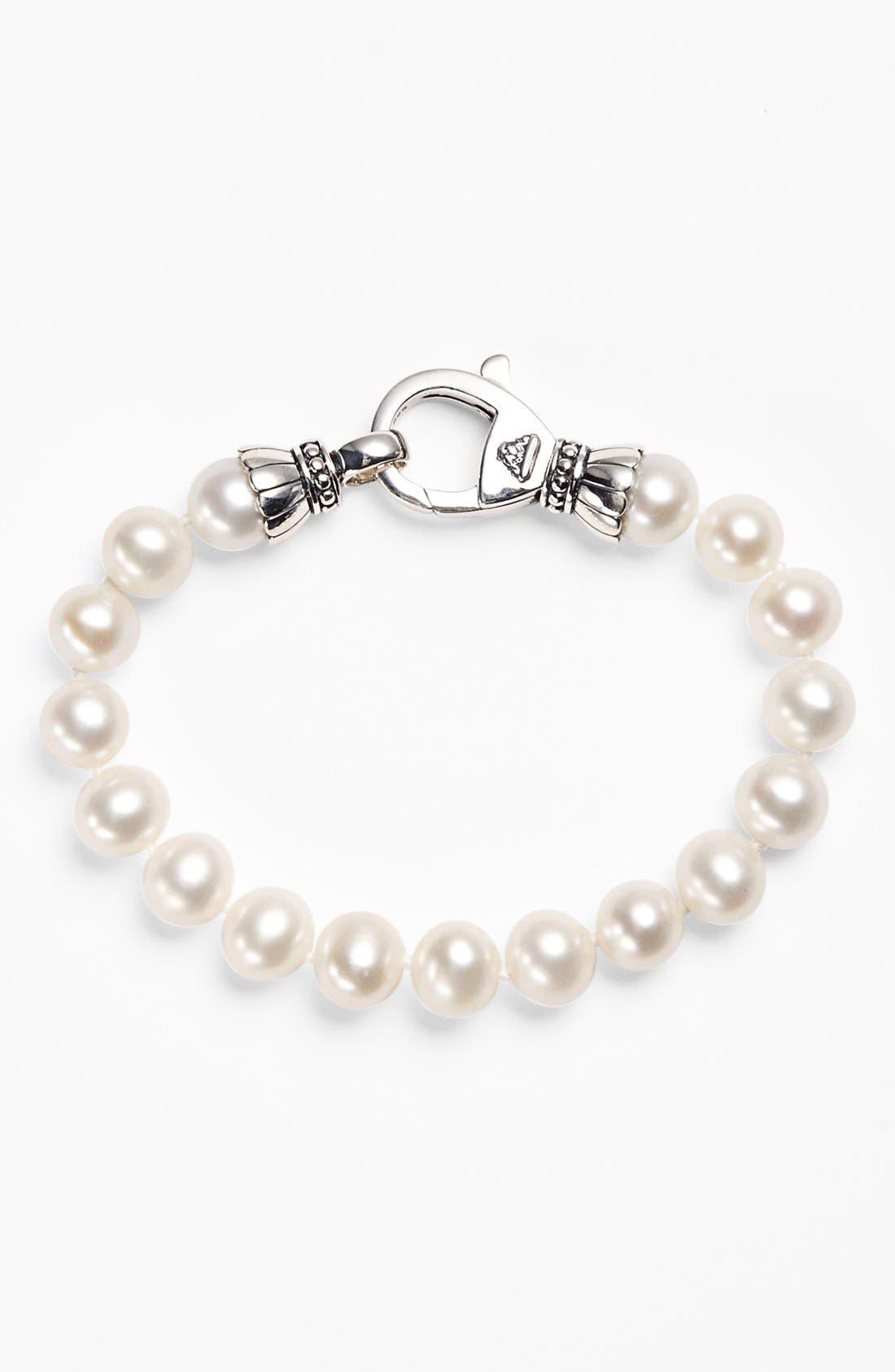'Luna' 9mm Pearl Bracelet,                         Main,                         color, 040