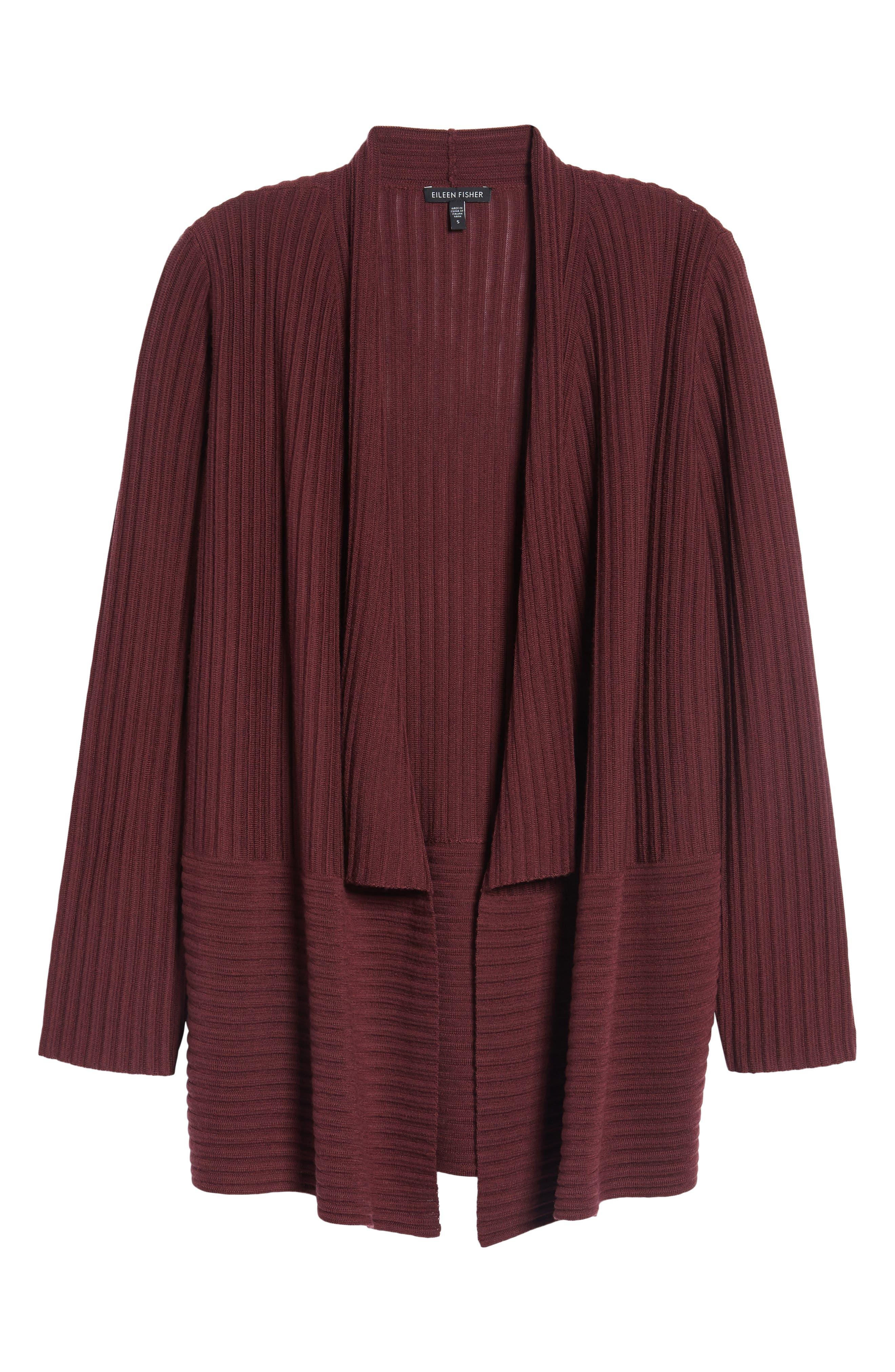 Ribbed Merino Wool Long Cardigan,                             Alternate thumbnail 36, color,