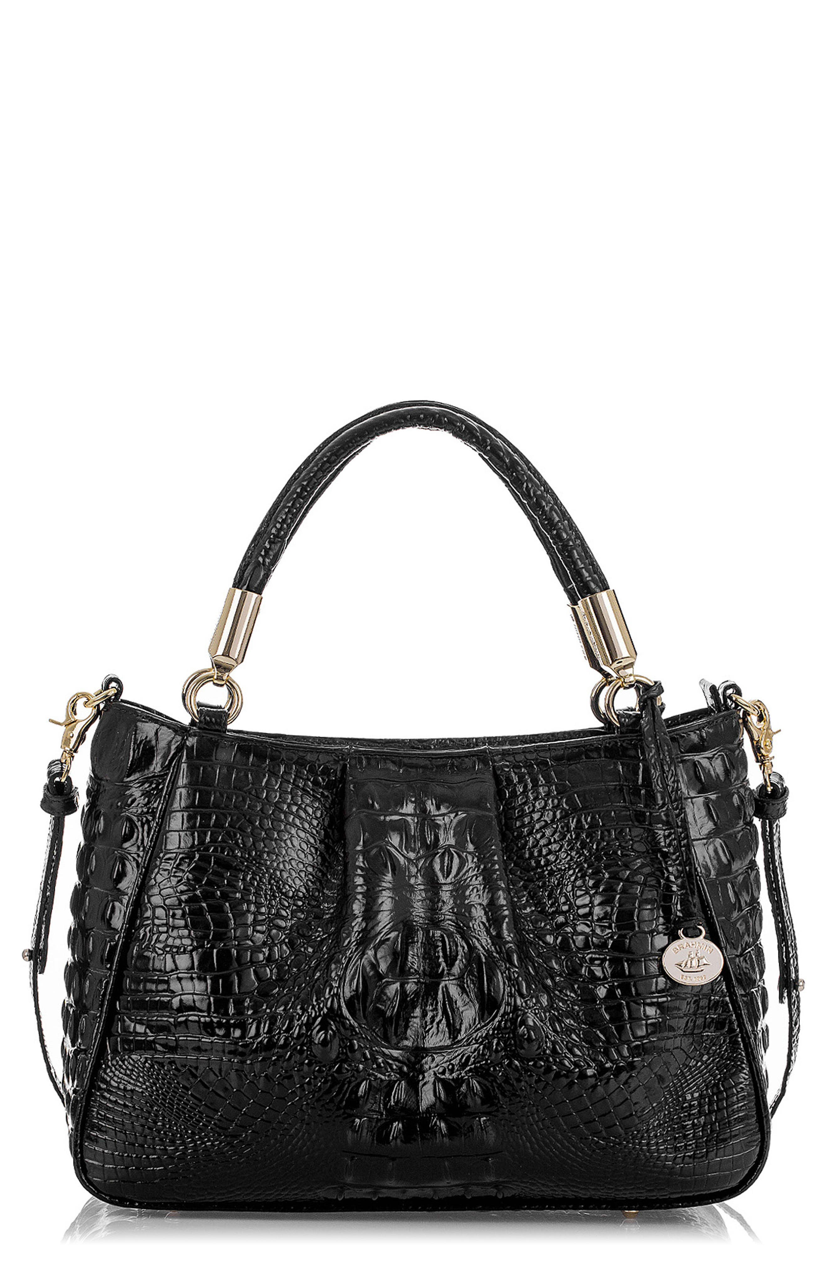 Ruby Croc Embossed Leather Satchel,                             Main thumbnail 1, color,                             001