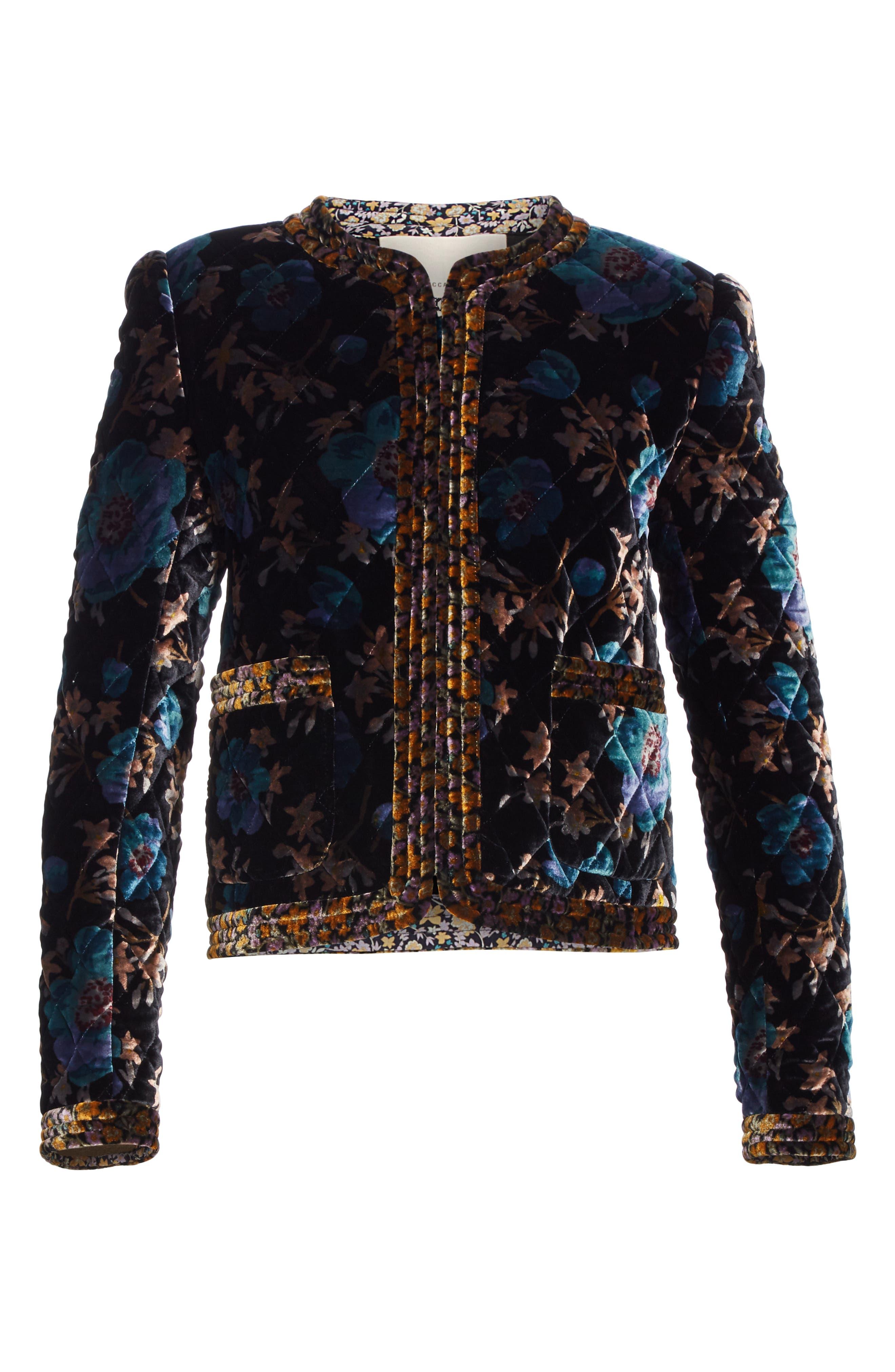 Solstice Quilted Velvet Jacket,                             Alternate thumbnail 6, color,                             BLACK COMBO