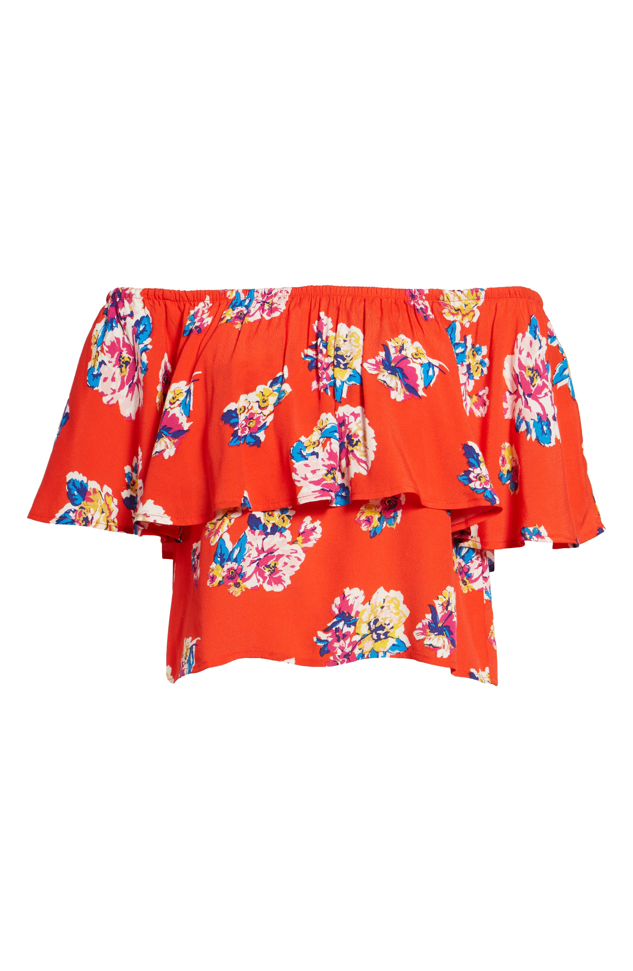 Print Ruffle Off the Shoulder Top,                             Alternate thumbnail 6, color,                             610