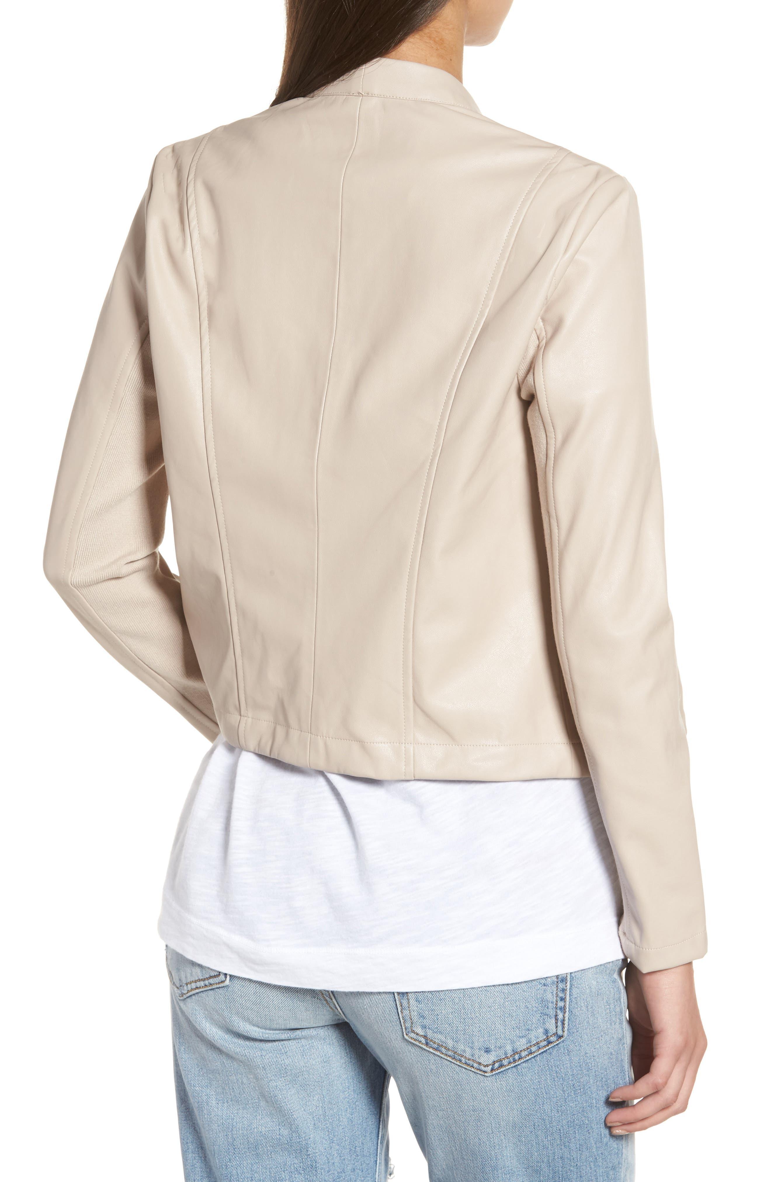 'Peppin' Drape Front Faux Leather Jacket,                             Alternate thumbnail 14, color,