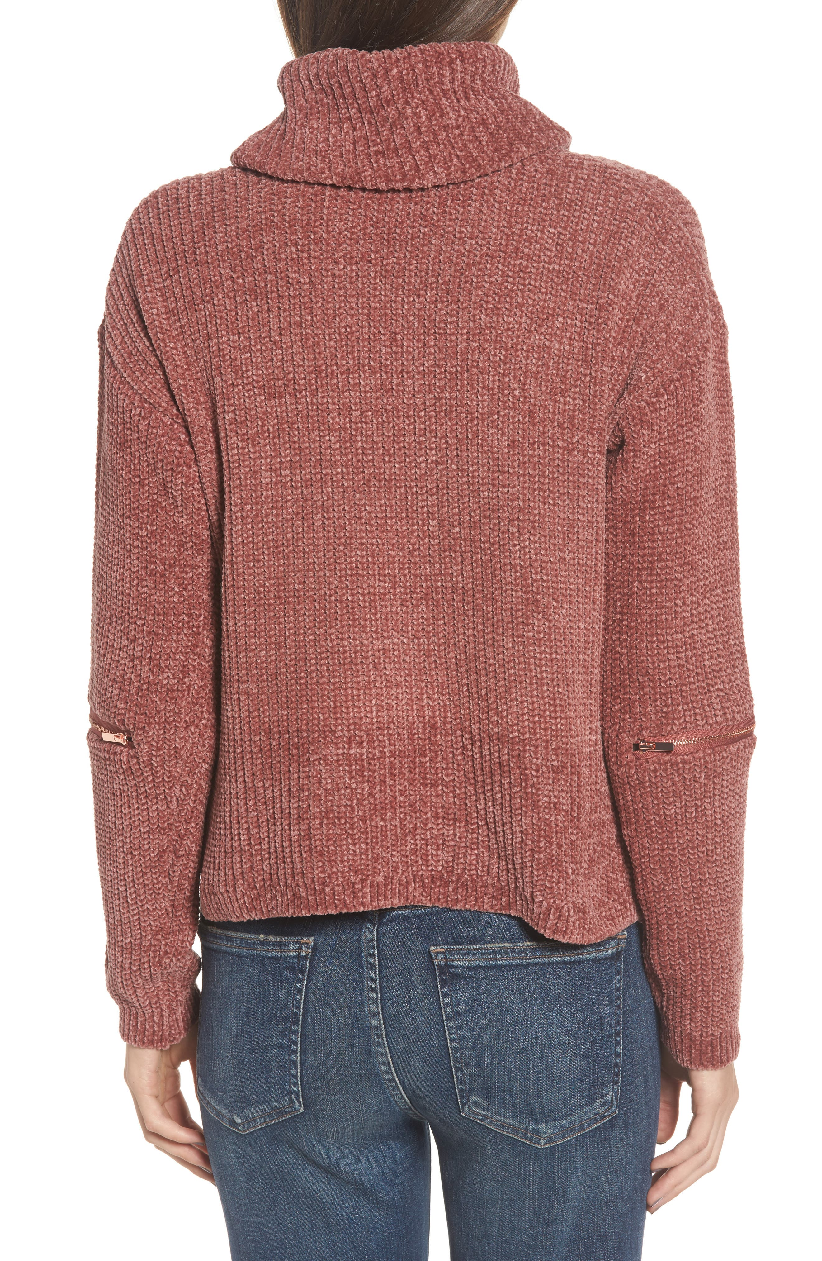 Zip Sleeve Turtleneck Sweater,                             Alternate thumbnail 2, color,                             566