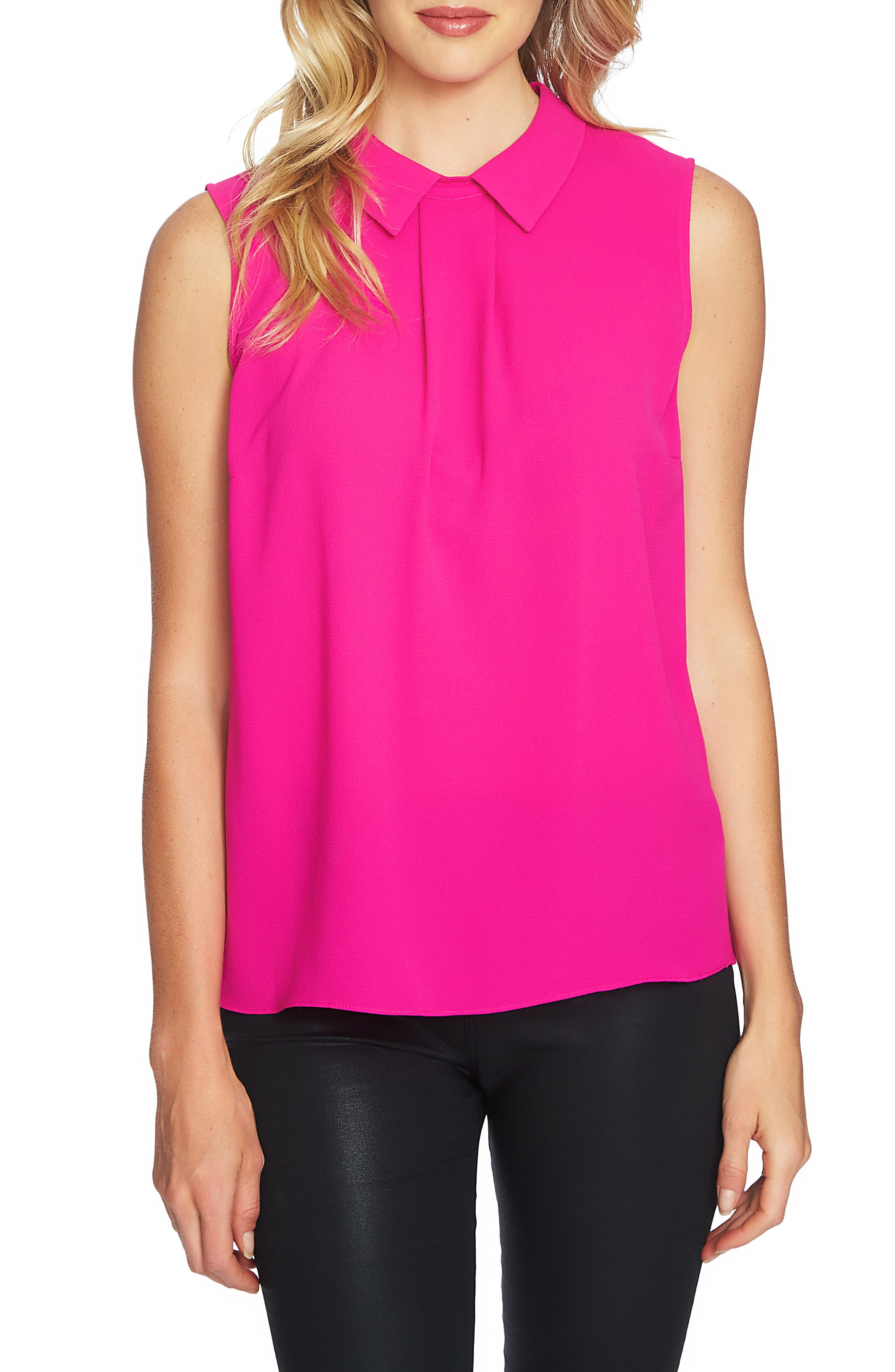 Collared Pleat Front Blouse,                         Main,                         color, HOT MAGENTA
