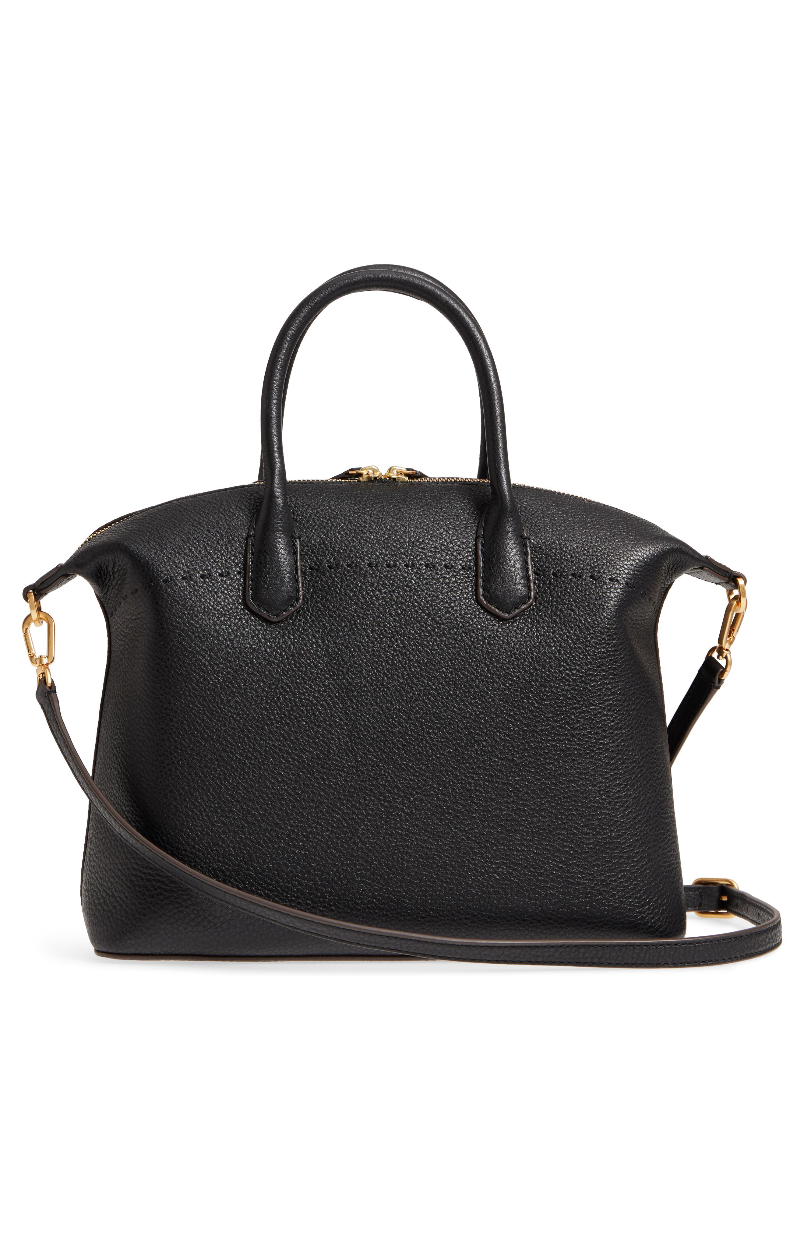 TORY BURCH,                             McGraw Slouchy Leather Satchel,                             Alternate thumbnail 3, color,                             BLACK