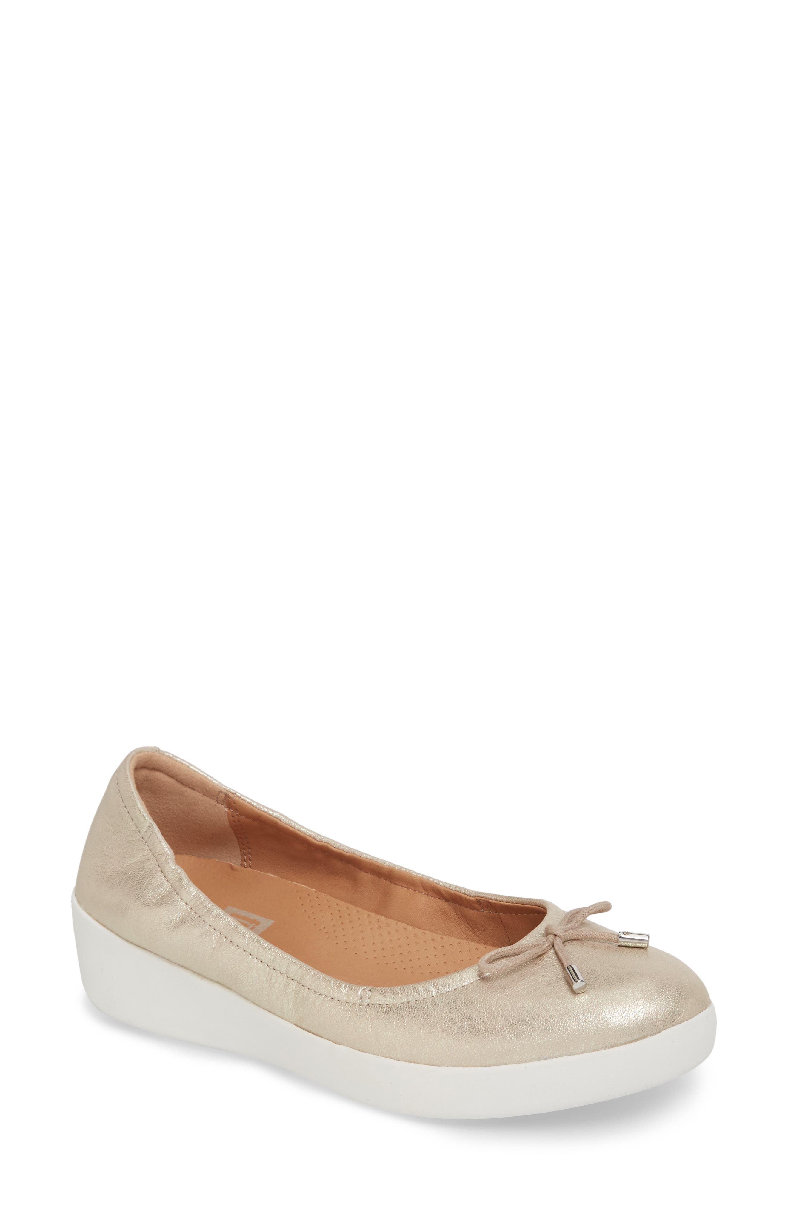 Superbendy Ballerina Flat,                             Main thumbnail 1, color,                             METALLIC SILVER LEATHER