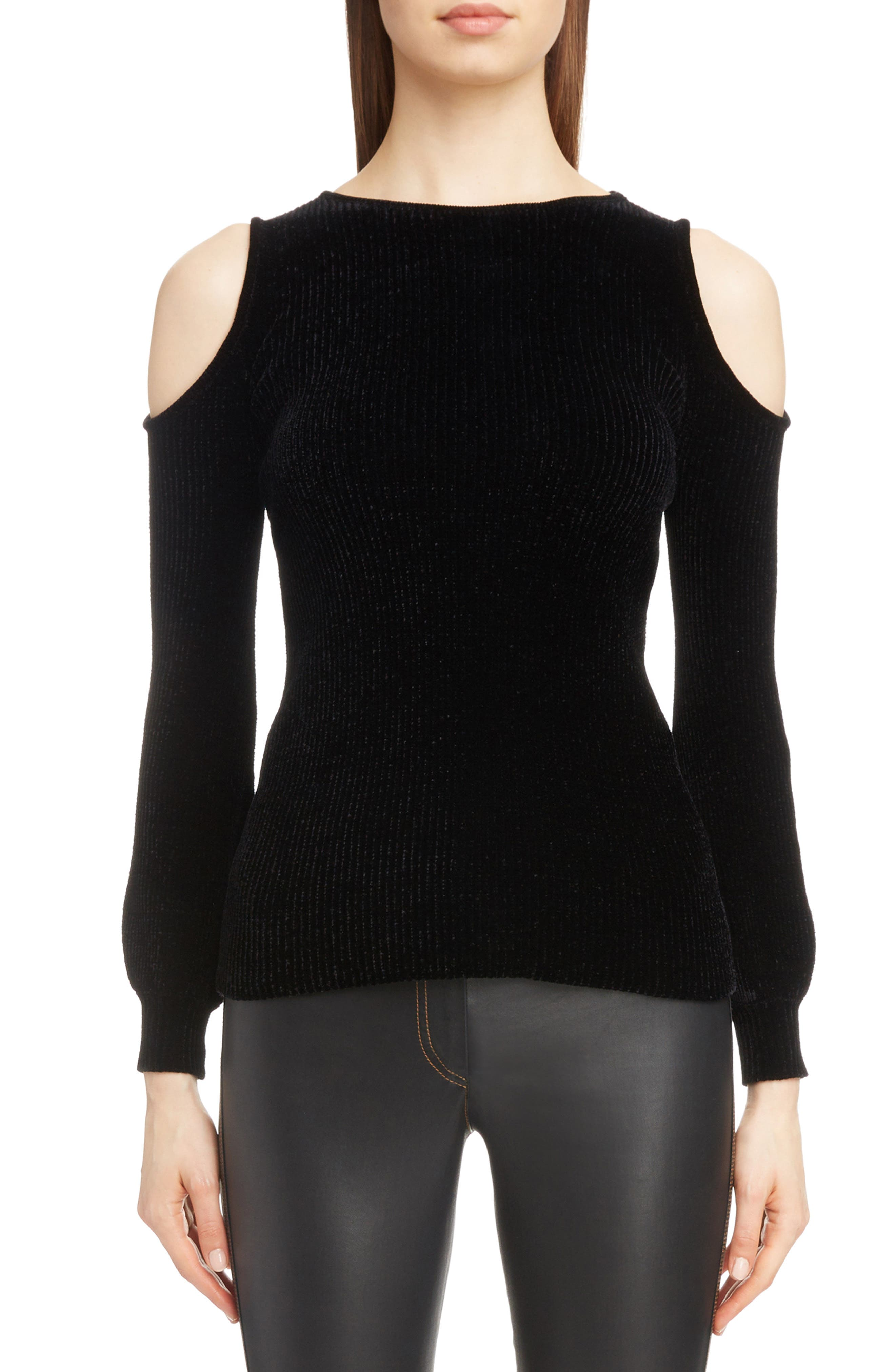 Cold Shoulder Chenille Sweater,                             Main thumbnail 1, color,                             BLACK