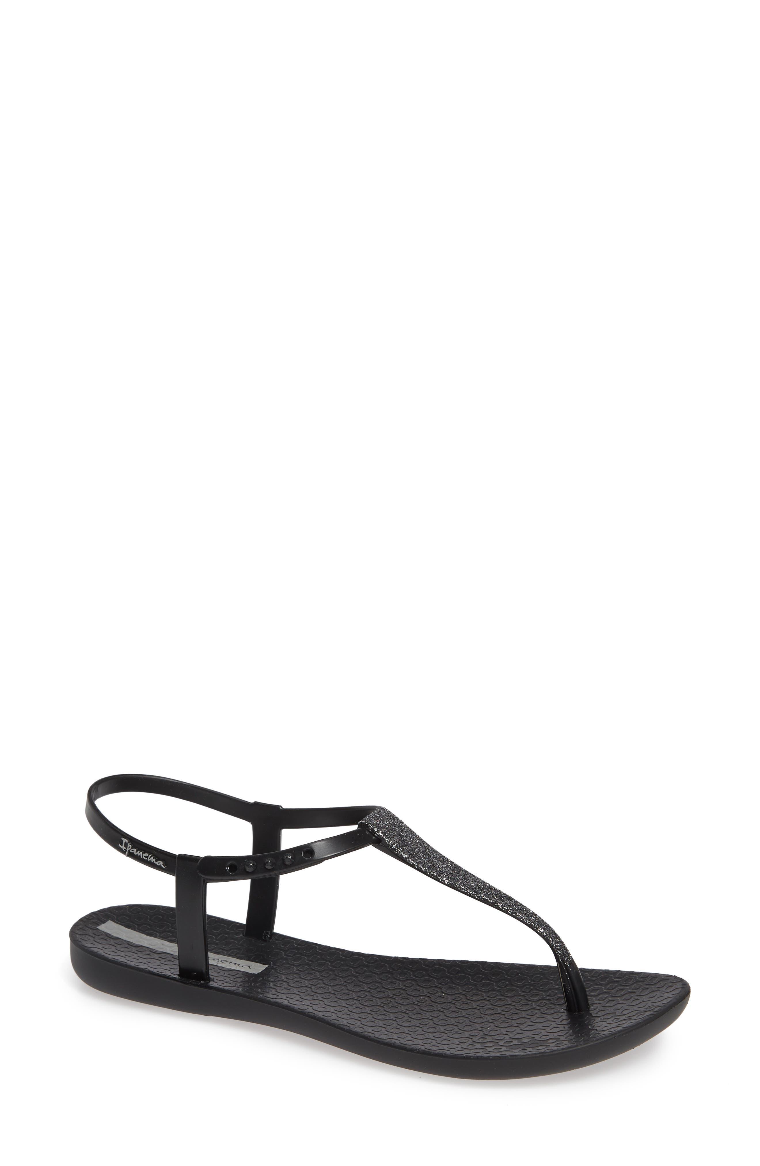 IPANEMA Shimmer Sandal, Main, color, BLACK/ SILVER