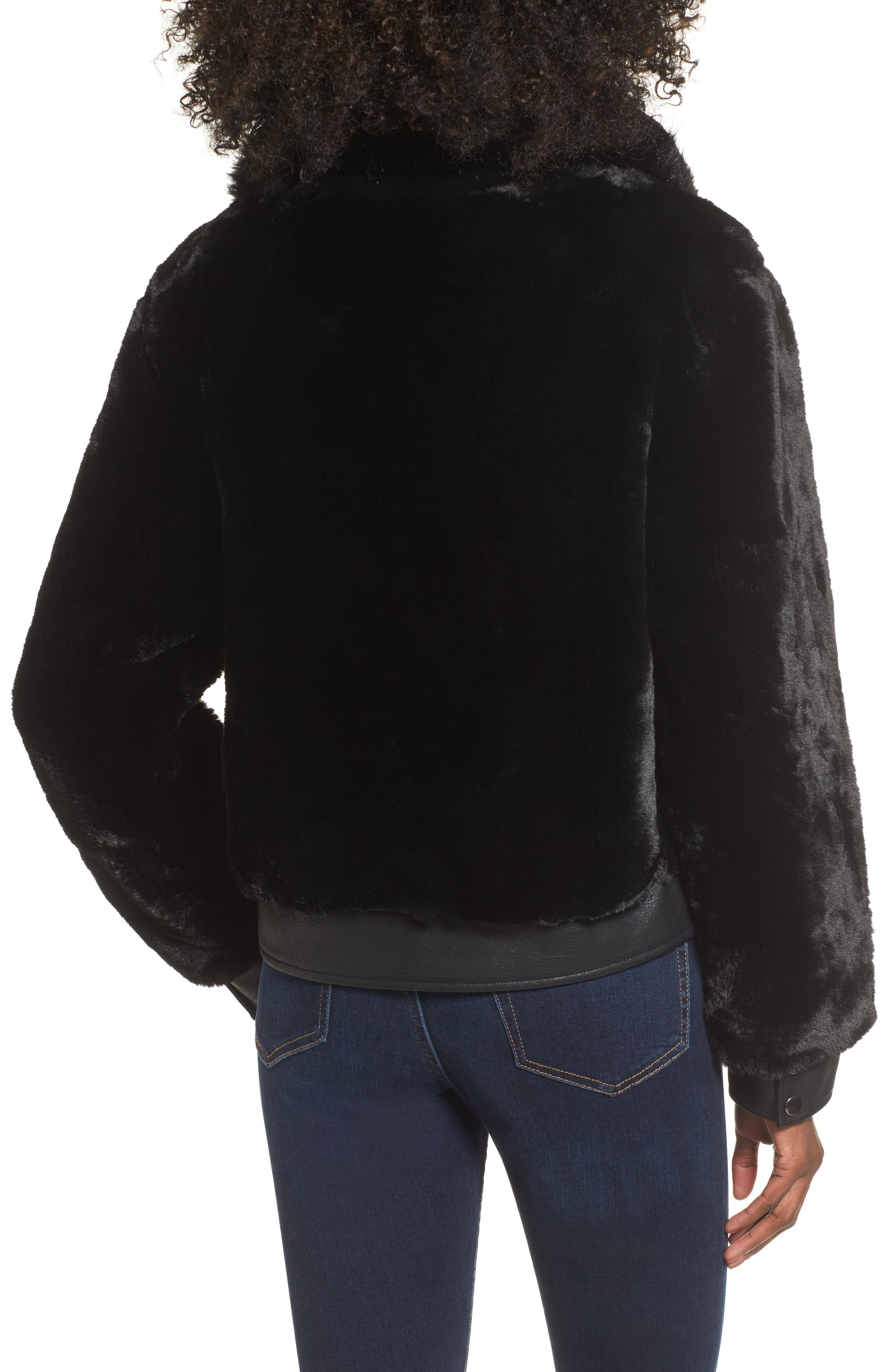 Faux Fur Jacket,                             Alternate thumbnail 2, color,                             BLACK NOISE