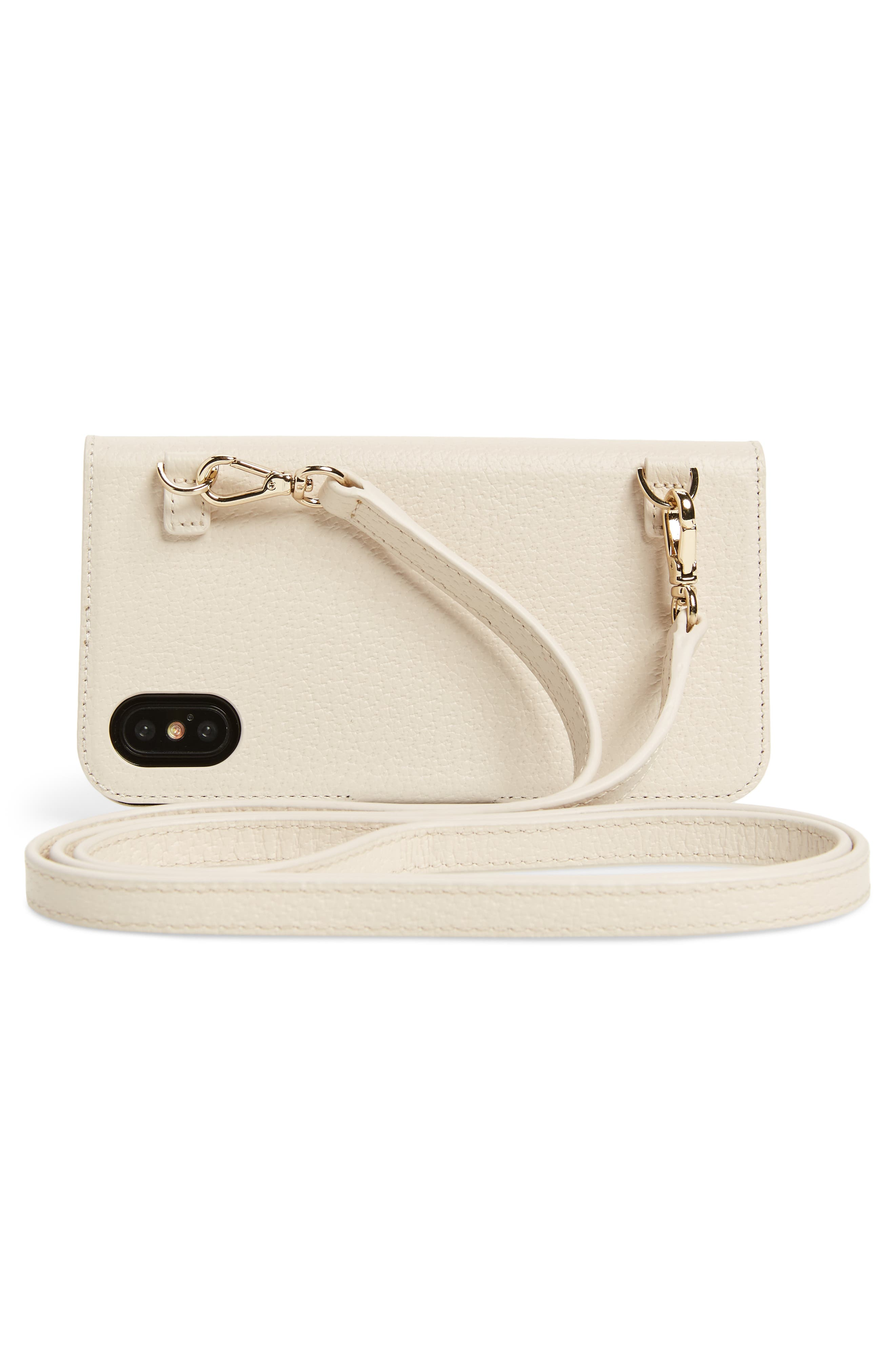 iPhone X embroidered bee leather folio crossbody,                             Alternate thumbnail 3, color,                             900