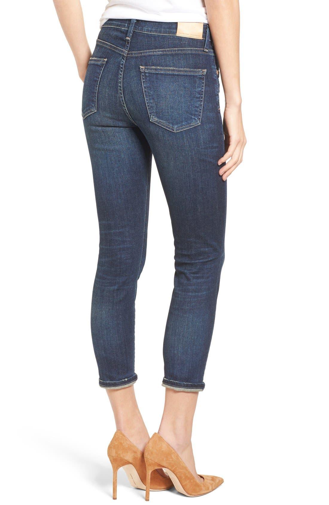 Rocket High Waist Crop Skinny Jeans,                             Alternate thumbnail 3, color,                             410