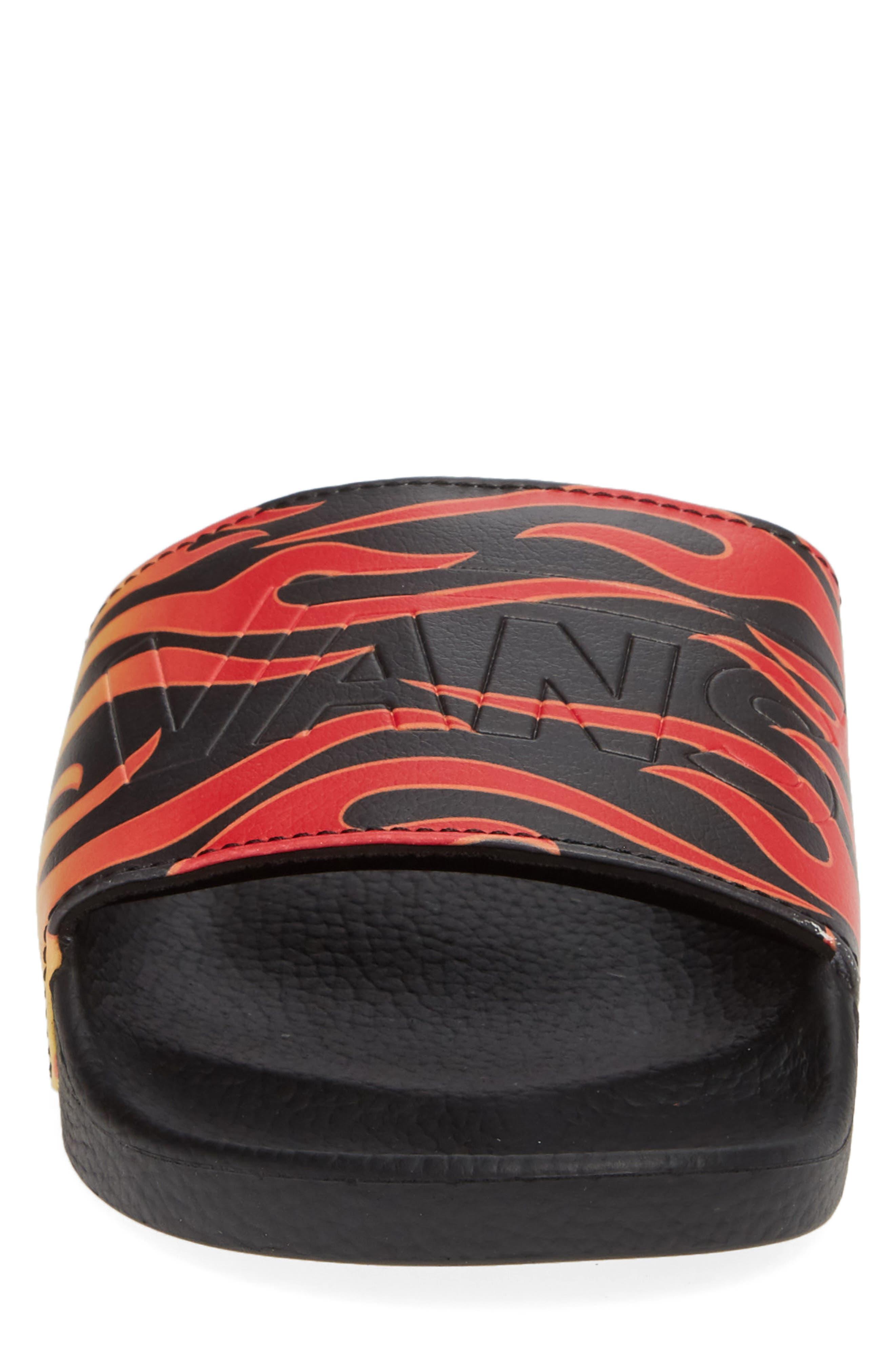 Slide-On Sandal,                             Alternate thumbnail 4, color,                             BLACK FLAME
