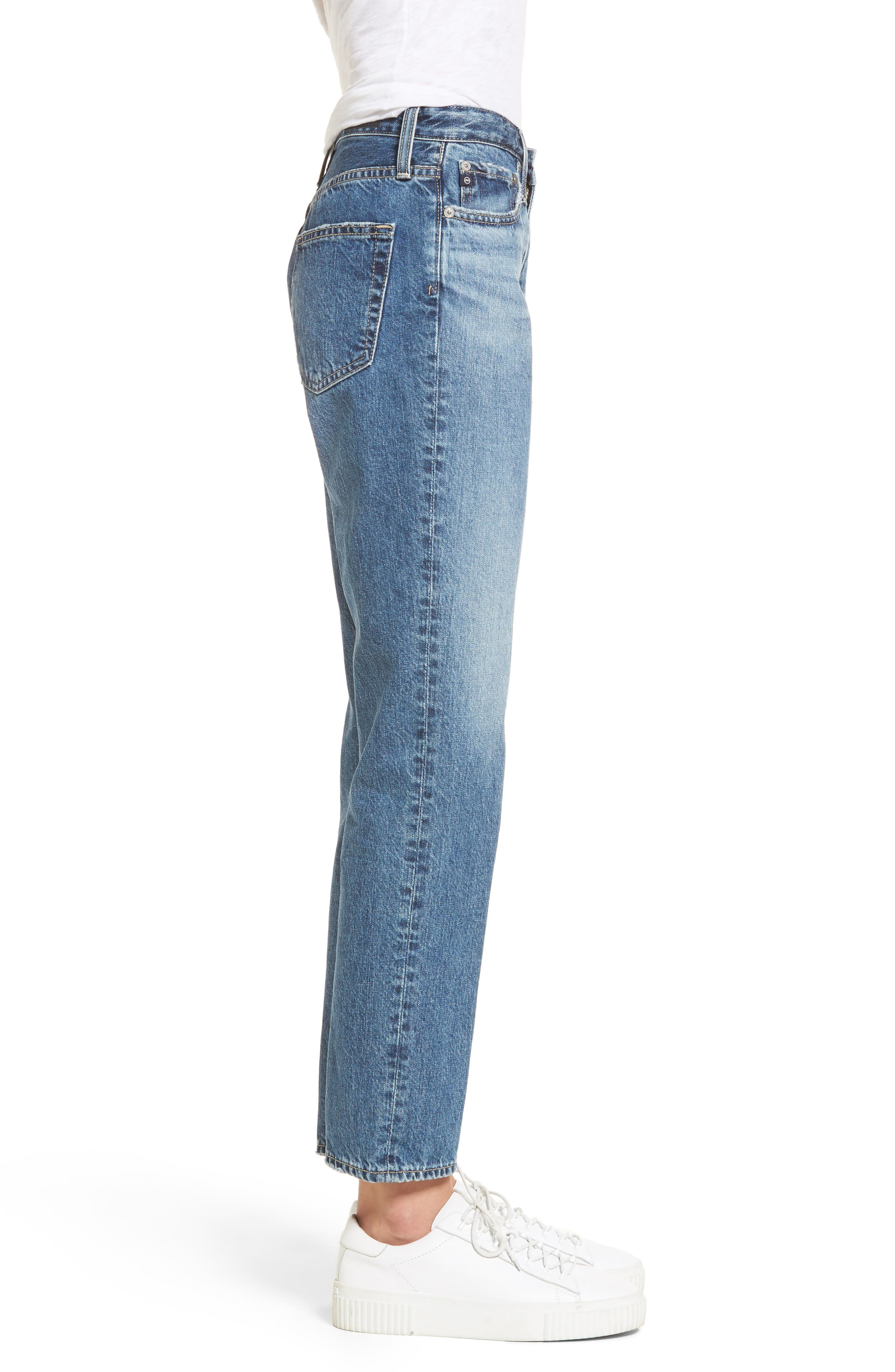 Isabelle High Waist Straight Leg Crop Jeans,                             Alternate thumbnail 3, color,                             436