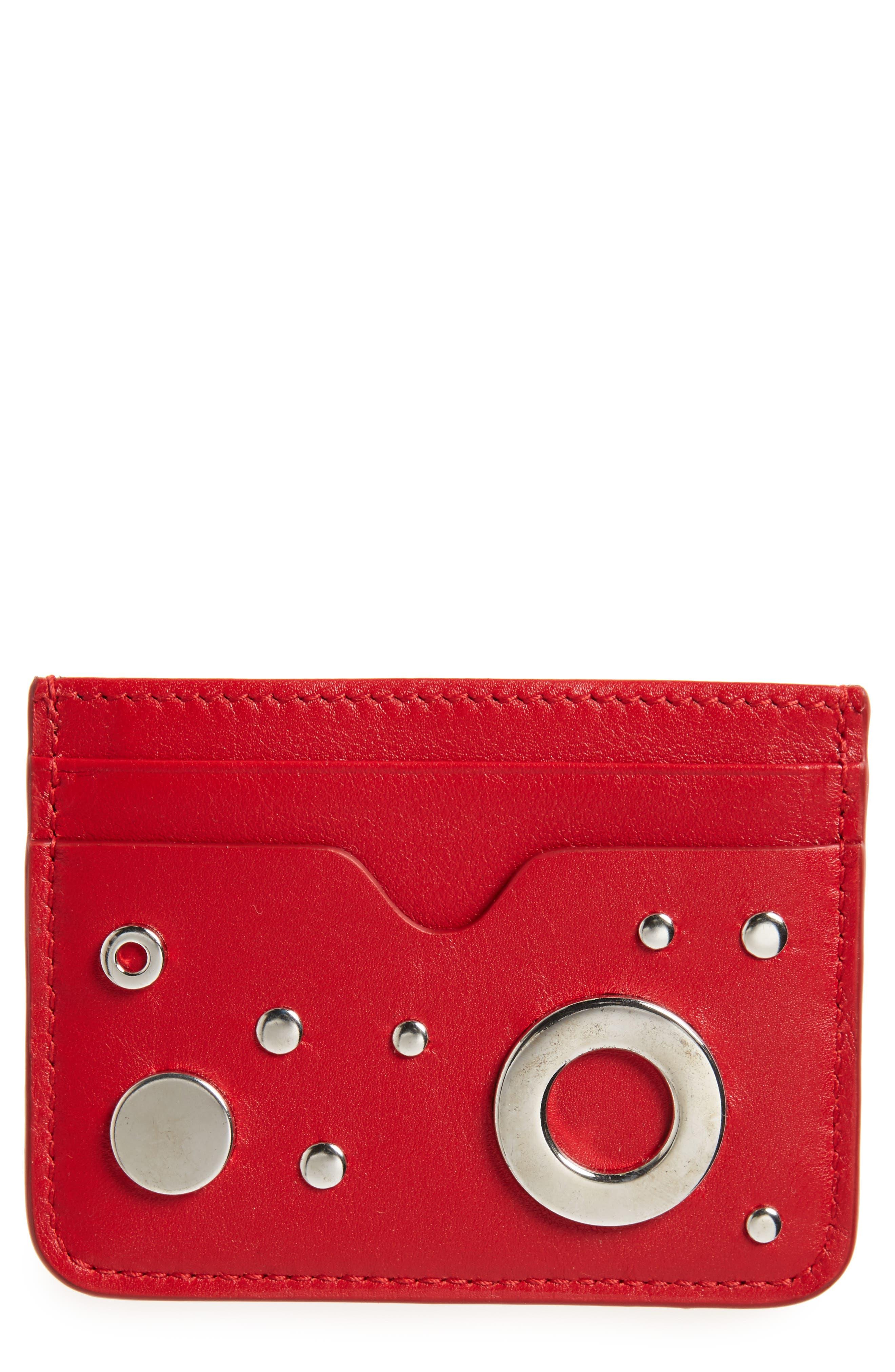 Grommet & Stud Calfskin Card Holder,                         Main,                         color, 649