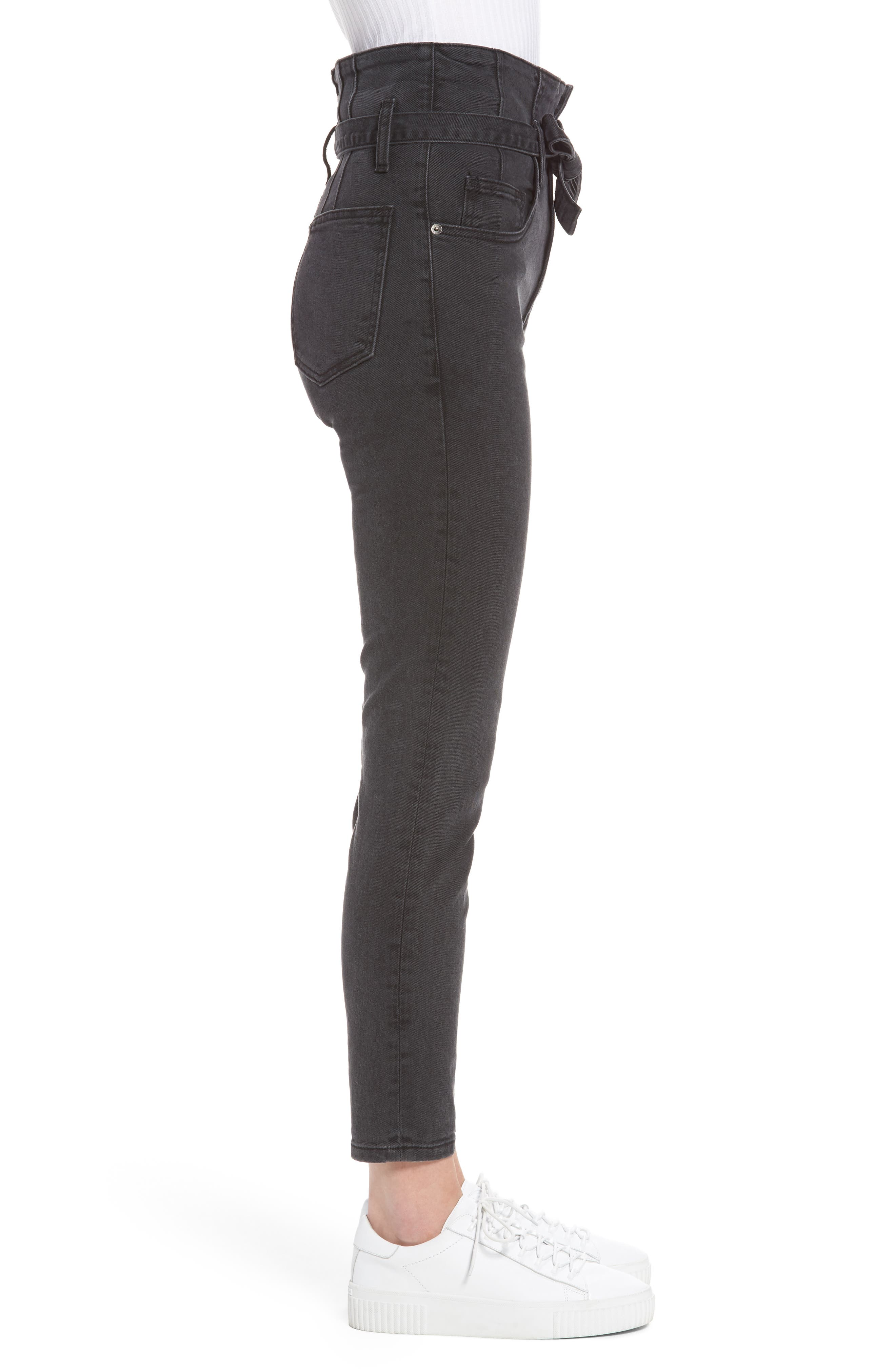 Corset Stiletto Ankle Skinny Jeans,                             Alternate thumbnail 3, color,                             004