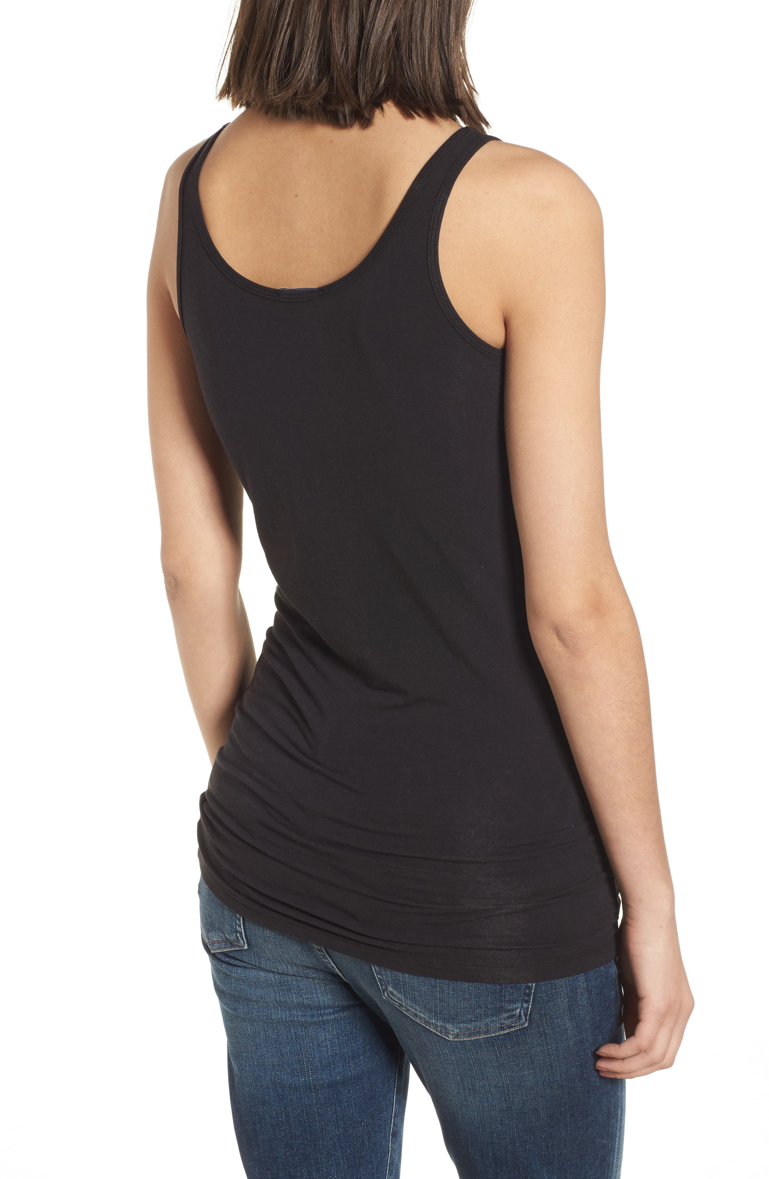 Scoop Neck Stretch Tank,                             Alternate thumbnail 3, color,                             001