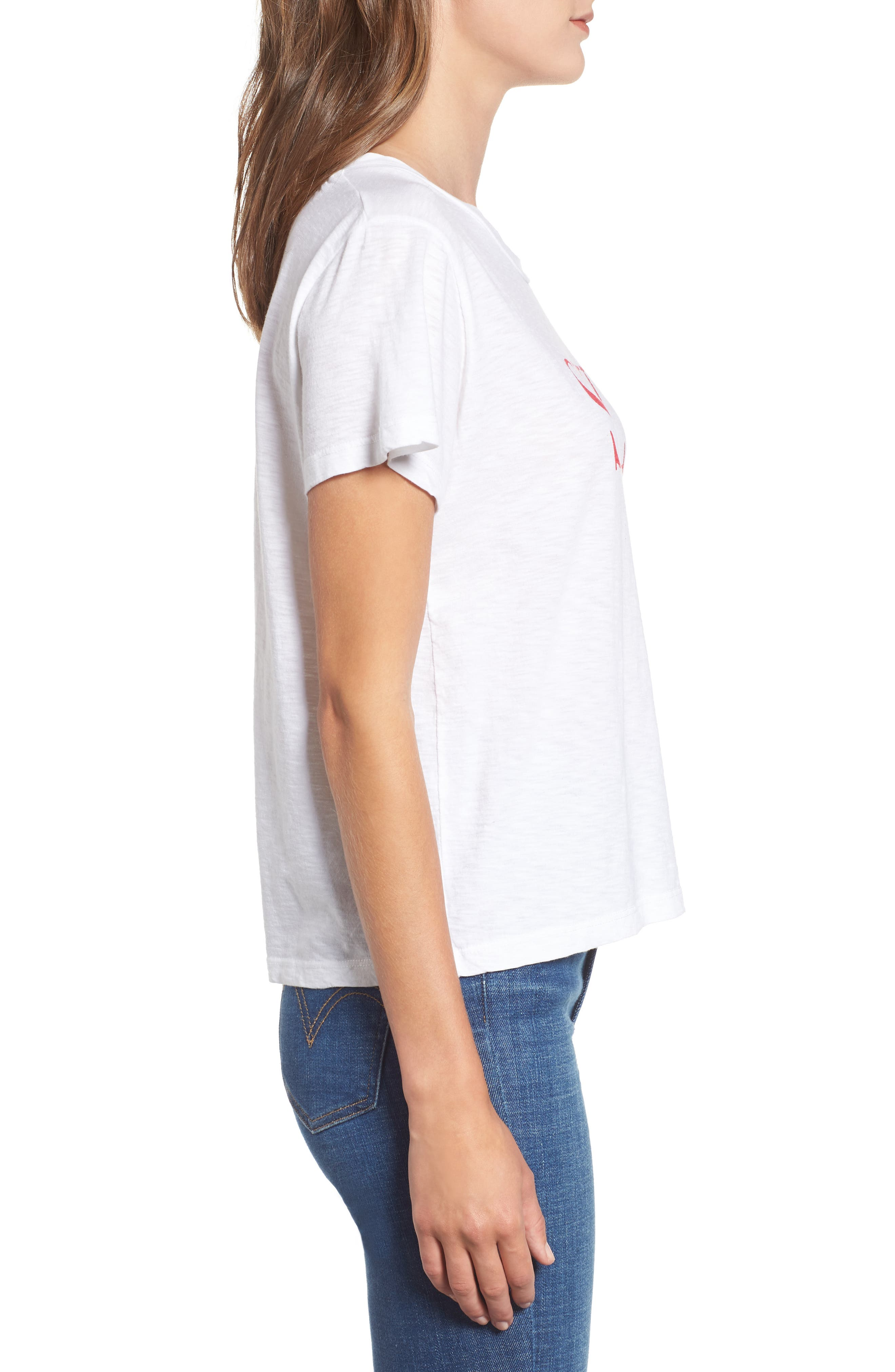 SUNDRY,                             Smile Boxy Cotton Tee,                             Alternate thumbnail 3, color,                             100