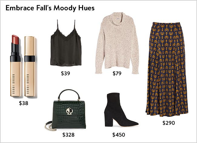 Embrace fall's moody hues: women's clothing, shoes and accessories.