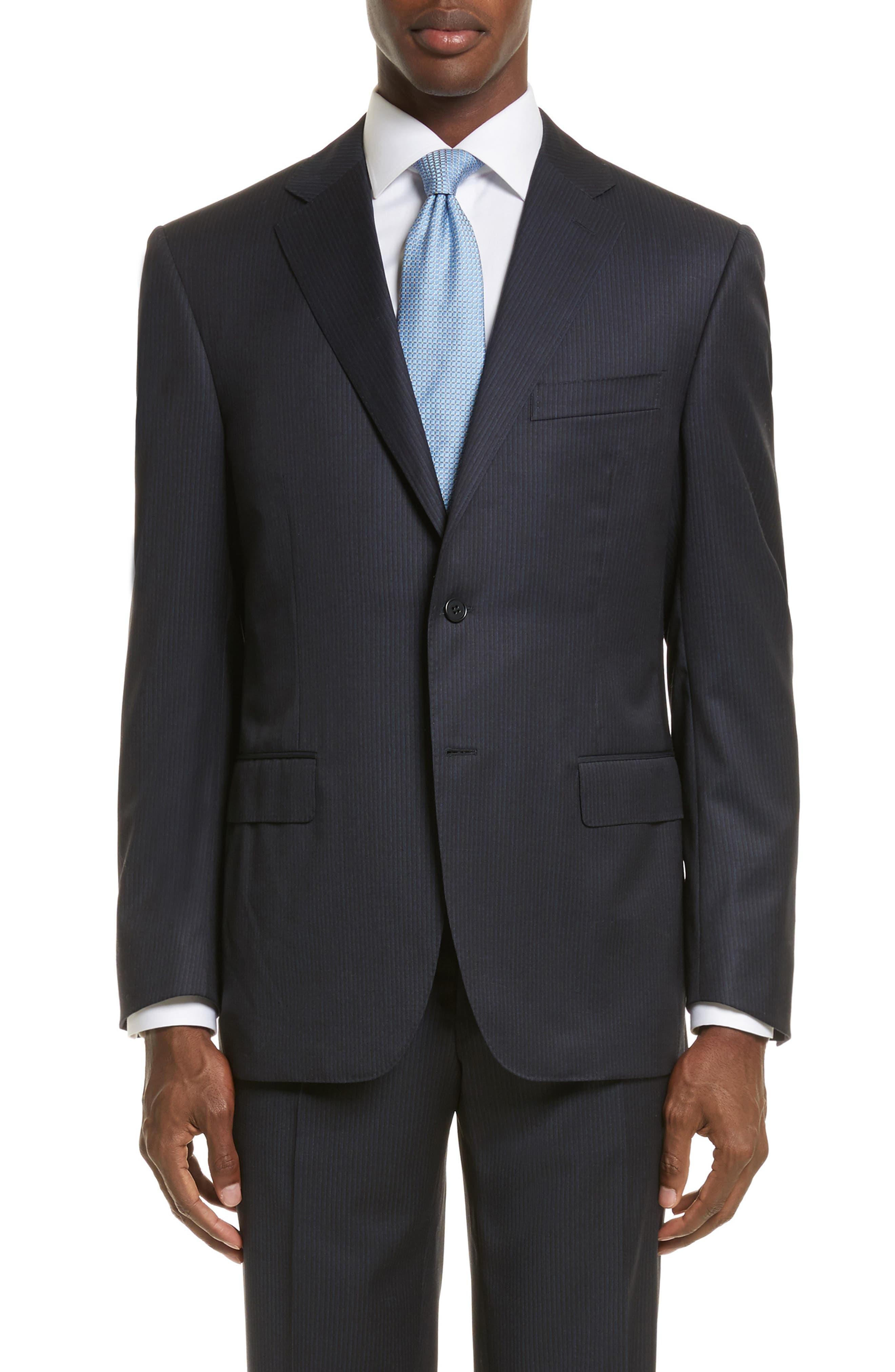 Classic Fit Stripe Wool Suit,                             Alternate thumbnail 6, color,                             400