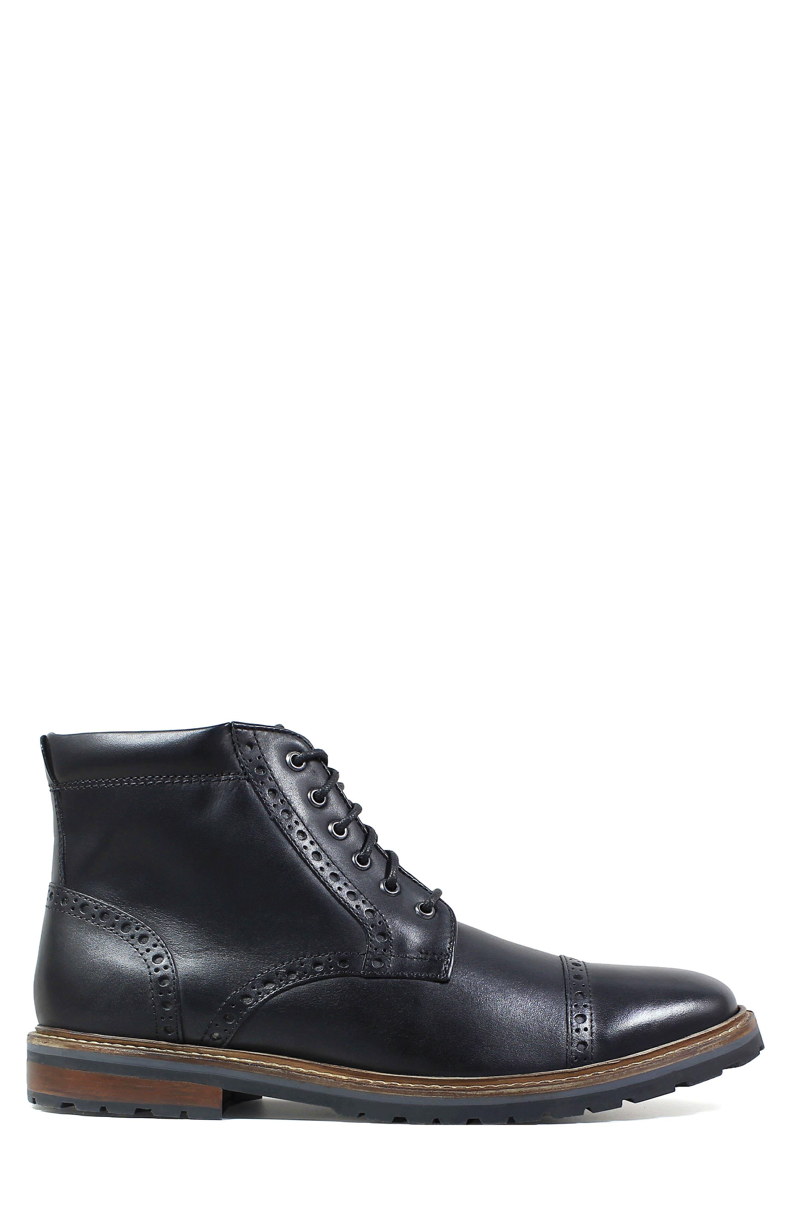 FLORSHEIM,                             Estabrook Cap Toe Boot,                             Alternate thumbnail 3, color,                             BLACK LEATHER