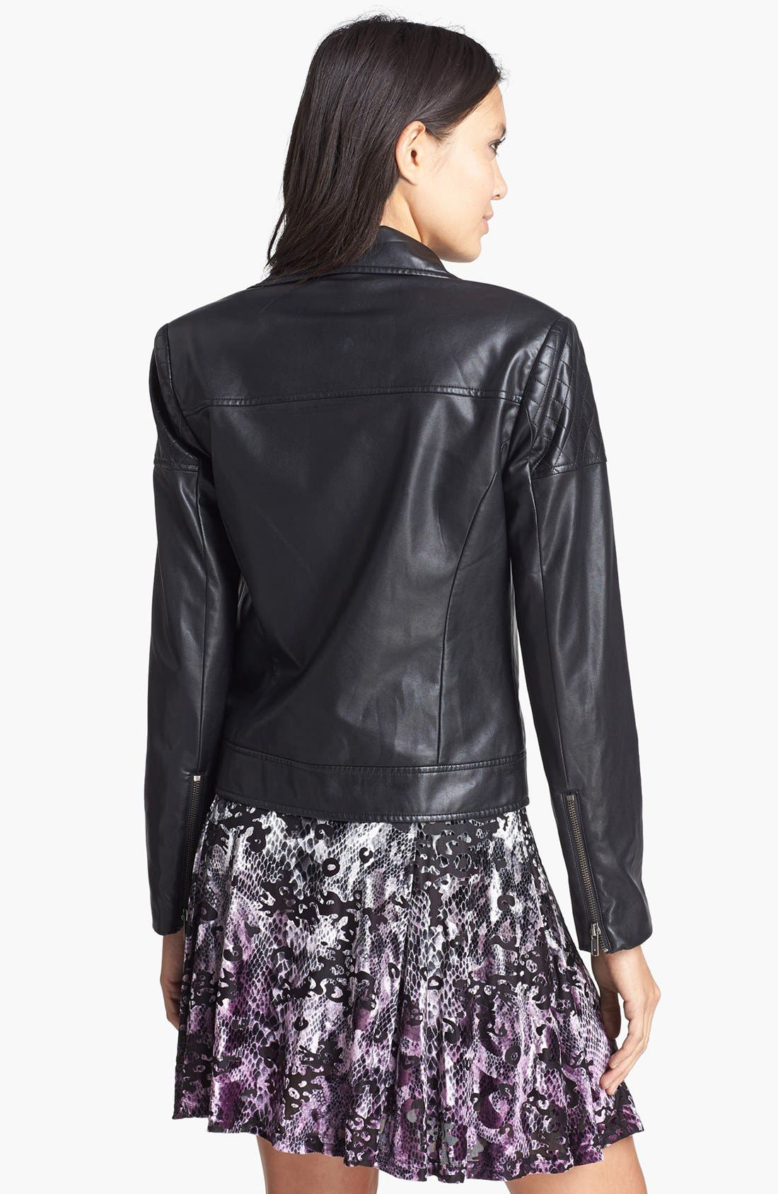 MURAL,                             Quilted Shoulder Faux Leather Moto Jacket,                             Alternate thumbnail 2, color,                             001
