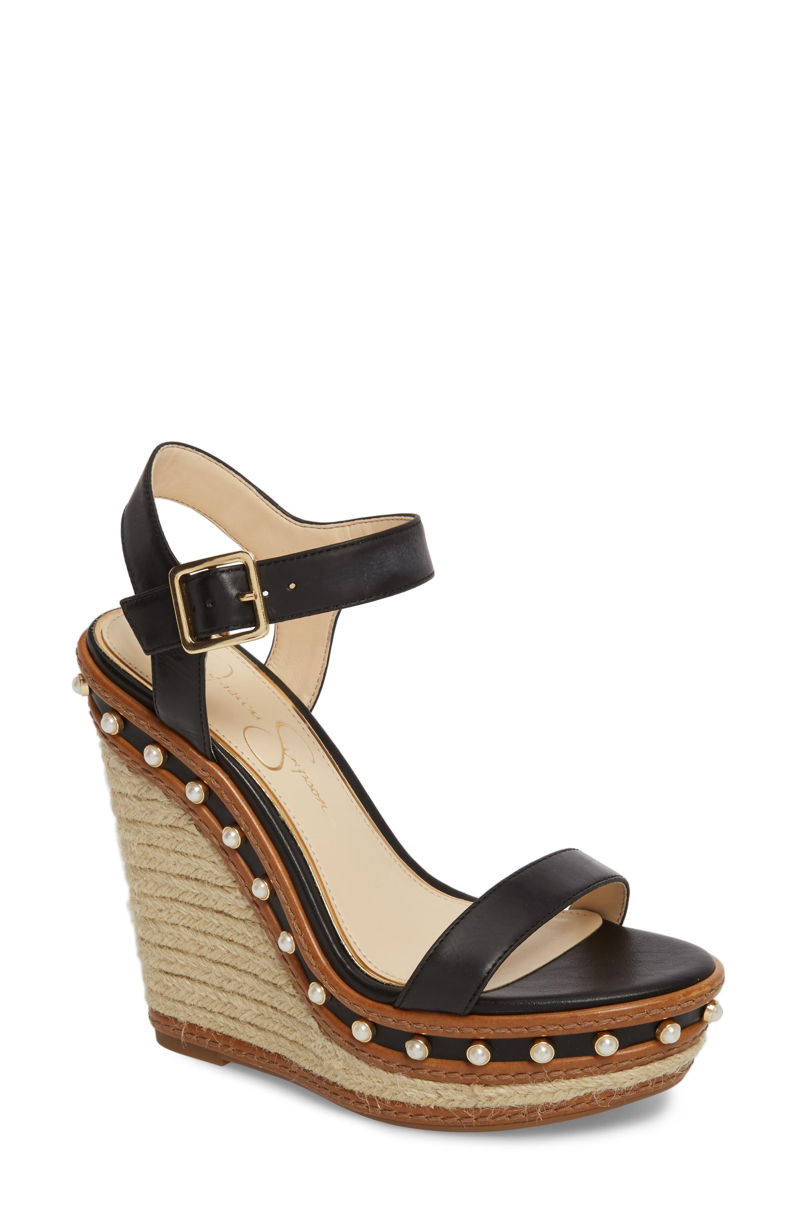 Arly Espadrille Wedge Sandal,                         Main,                         color, BLACK