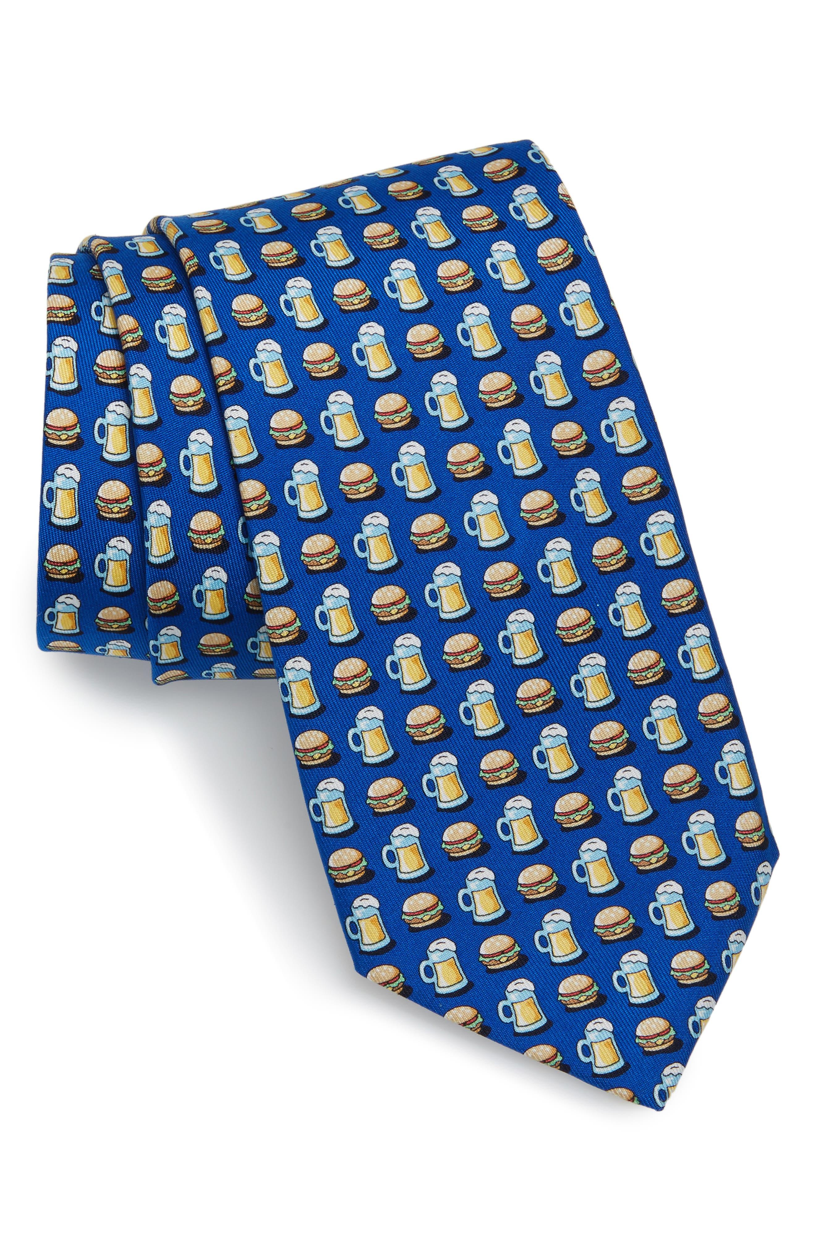 Burger & Beer Silk Tie,                         Main,                         color, 420