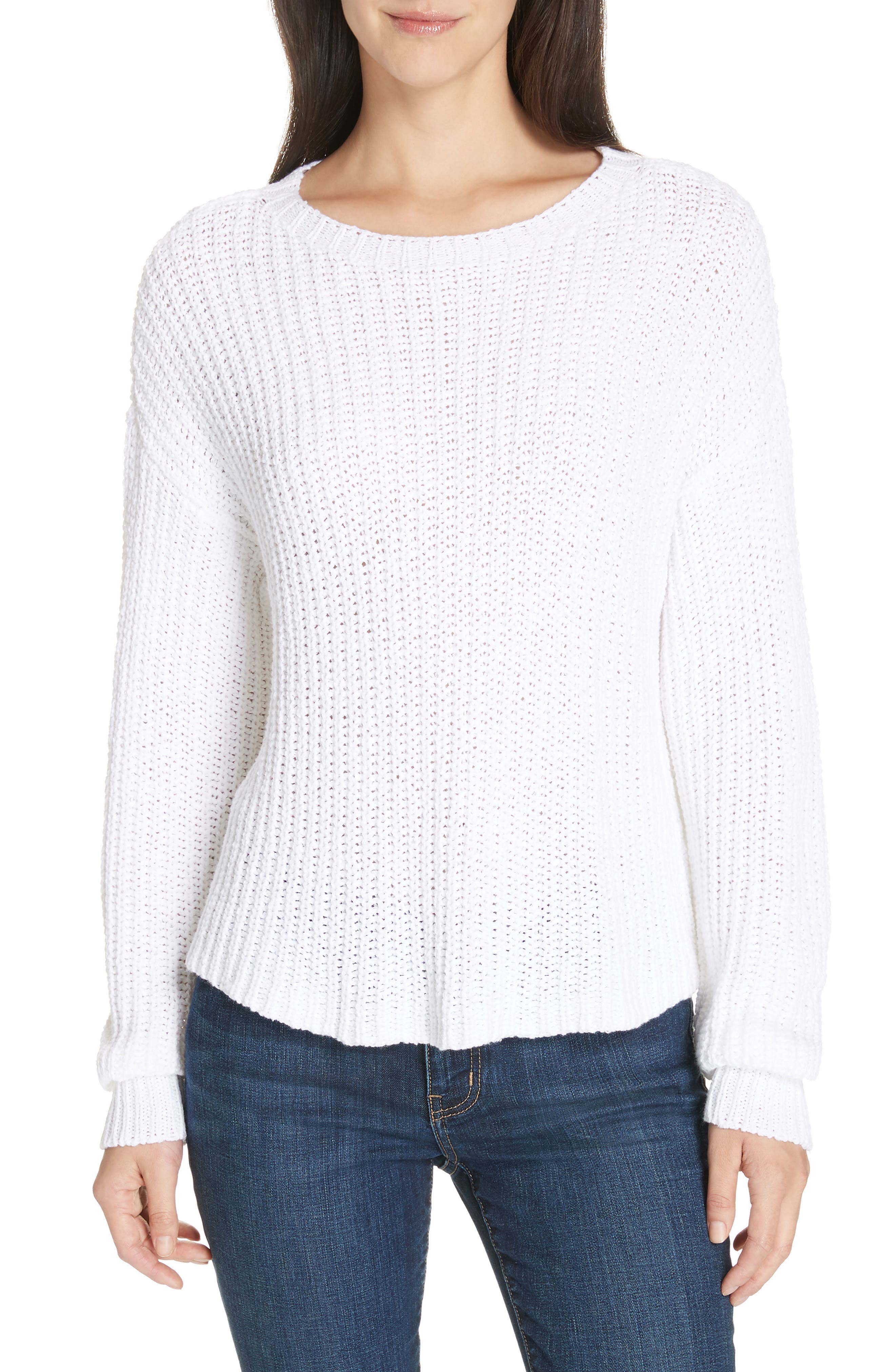 Crewneck Crop Shaker Sweater,                             Main thumbnail 1, color,                             WHITE