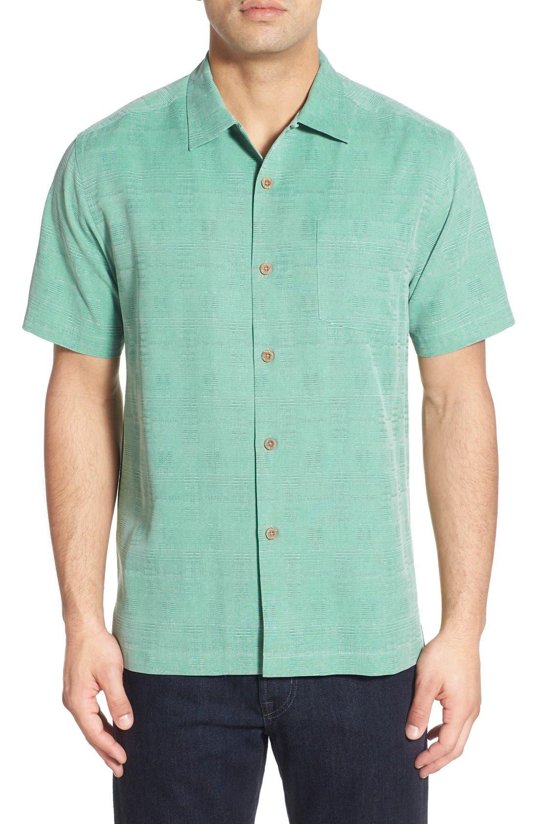 Original Fit Jacquard Silk Camp Shirt,                             Main thumbnail 2, color,