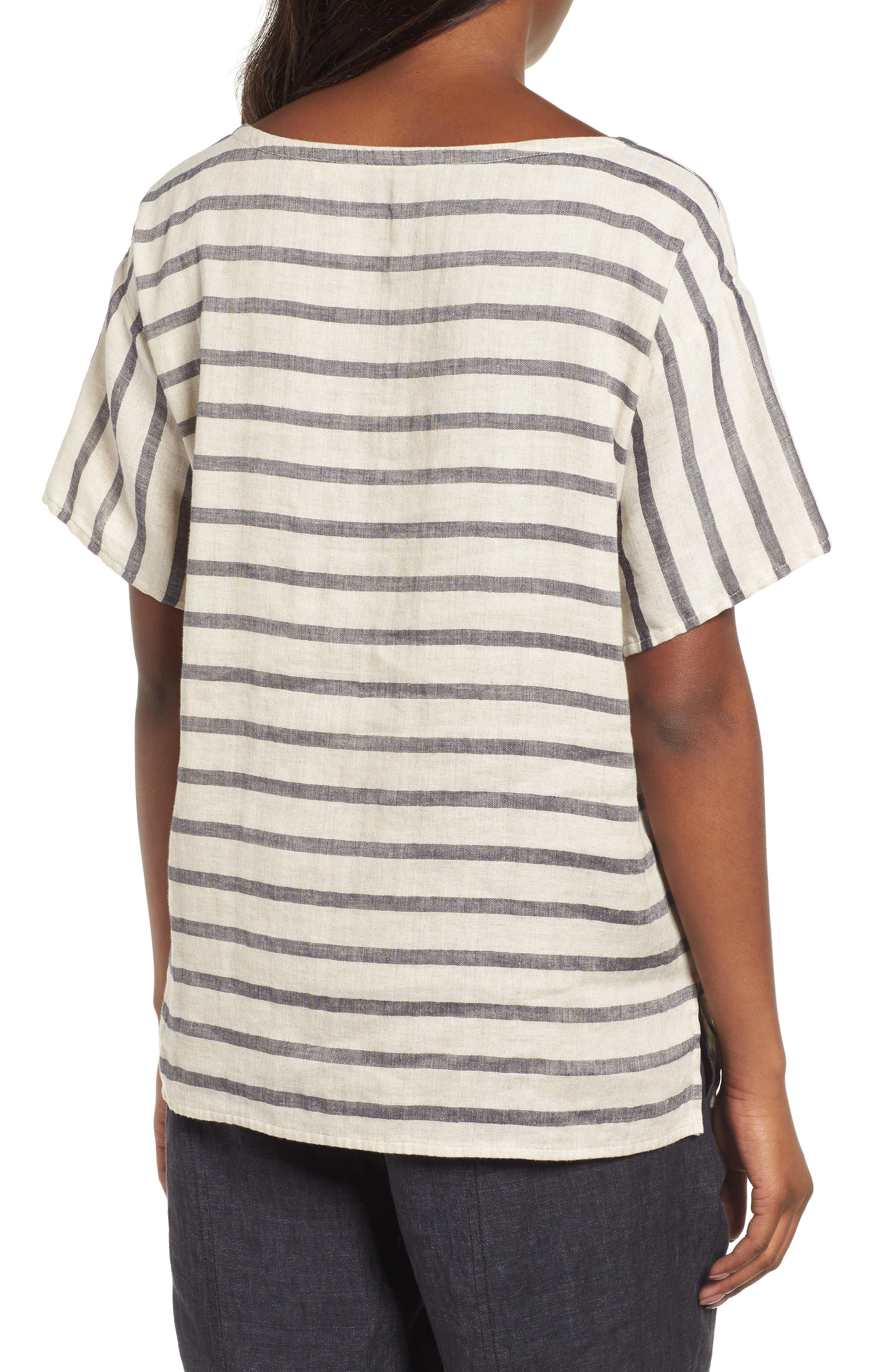 Stripe Linen & Organic Cotton Top,                             Alternate thumbnail 2, color,                             257