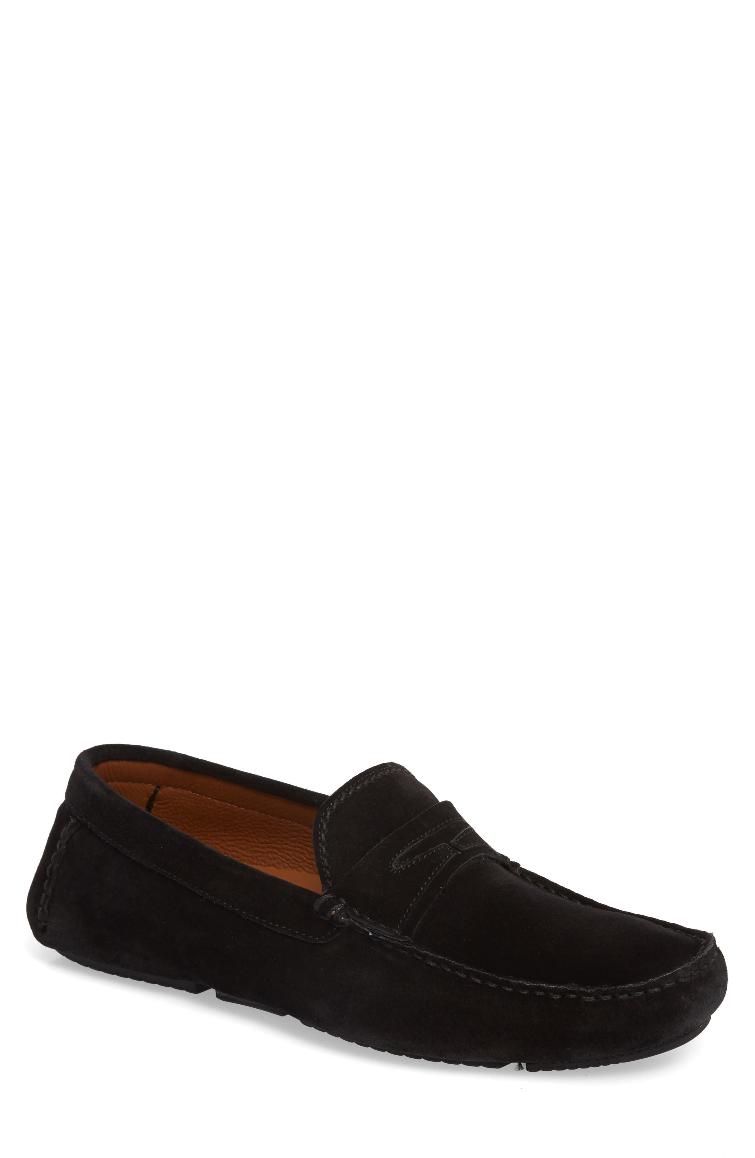 Brandon Weatherproof Driving Loafer,                             Main thumbnail 1, color,                             BLACK SUEDE