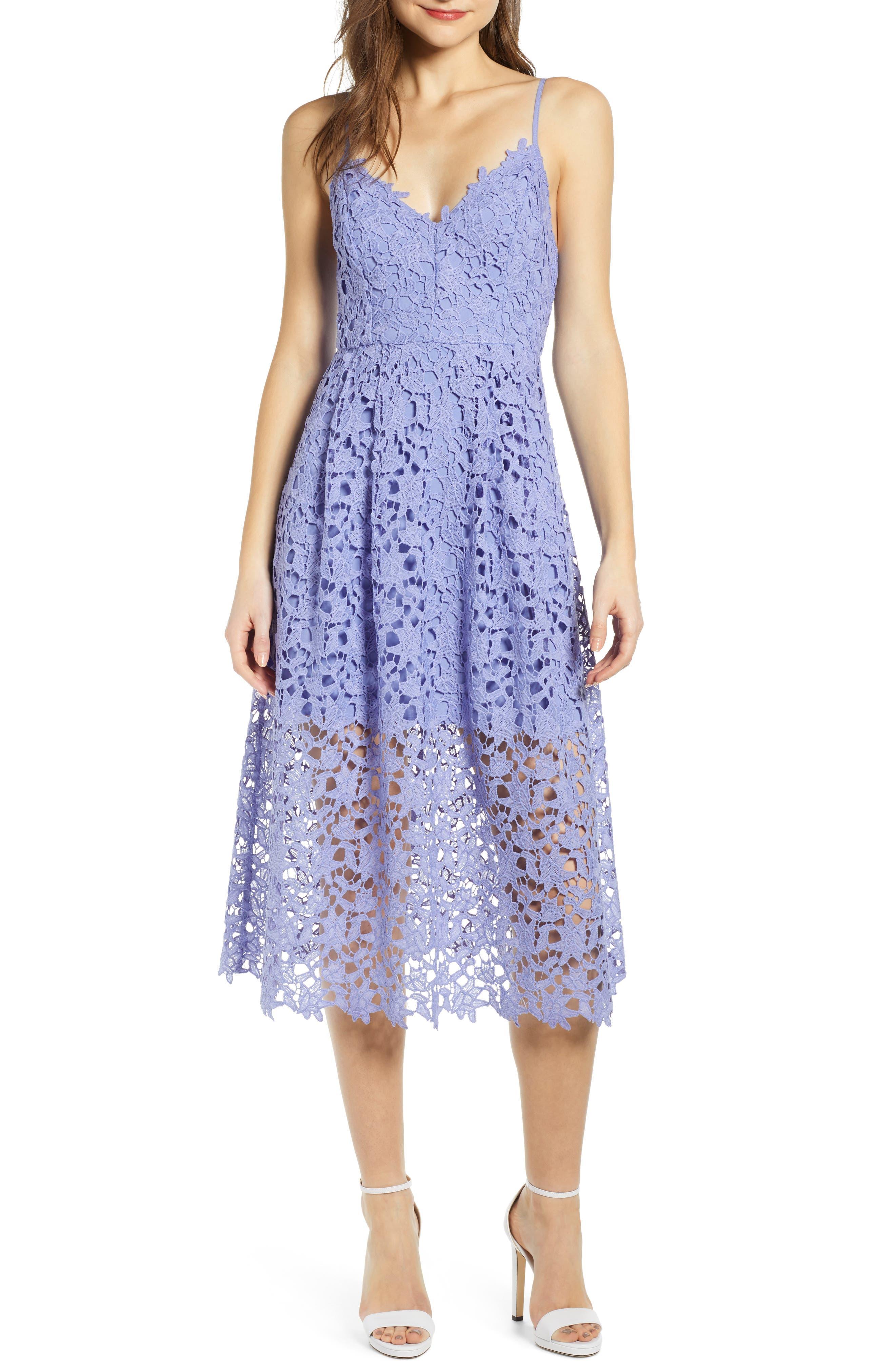 ASTR THE LABEL Lace Midi Dress, Main, color, LAVENDER
