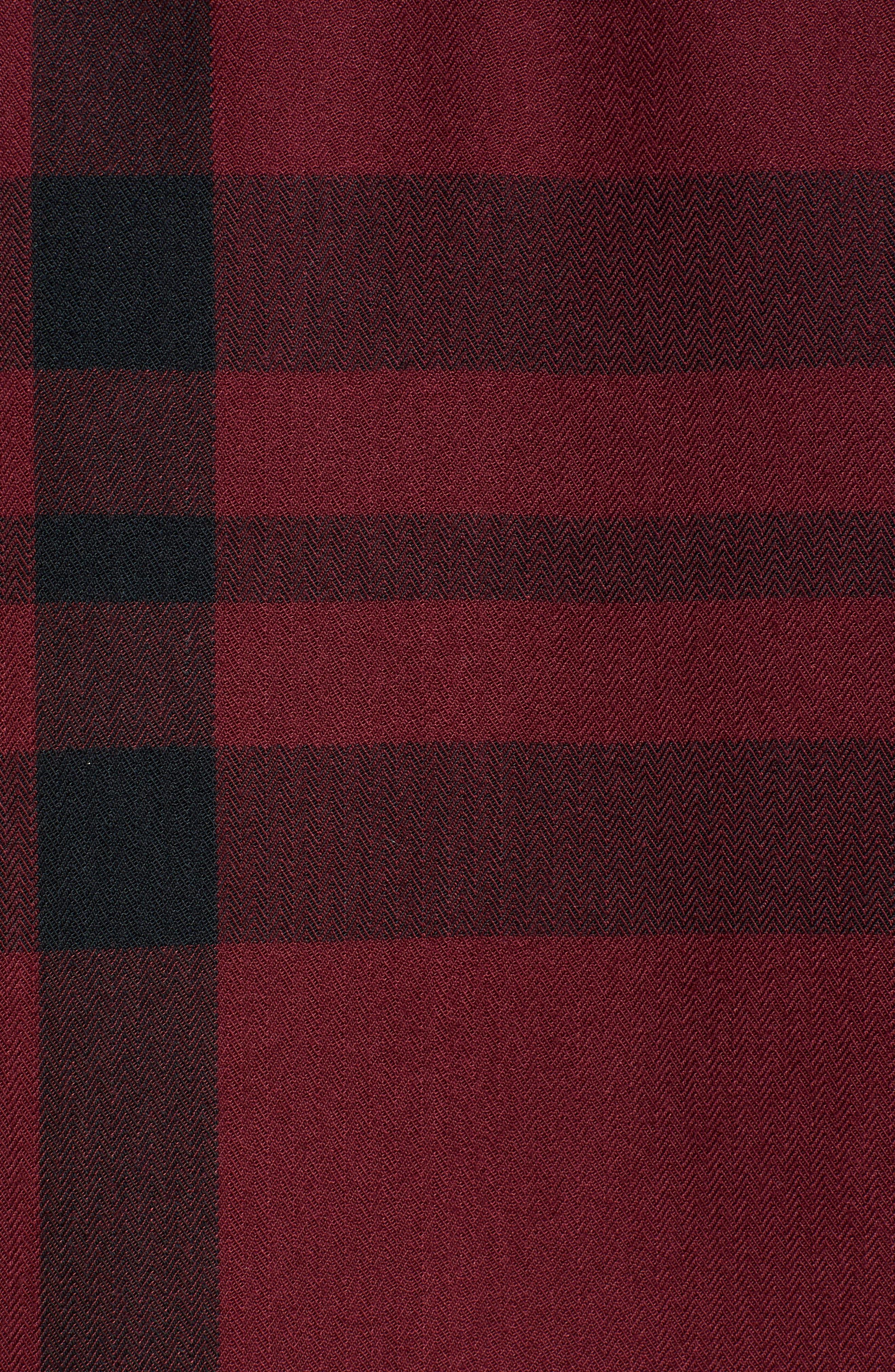 Bell Sleeve Shirt,                             Alternate thumbnail 5, color,                             RED TANNIN BULLSEYE PLAID