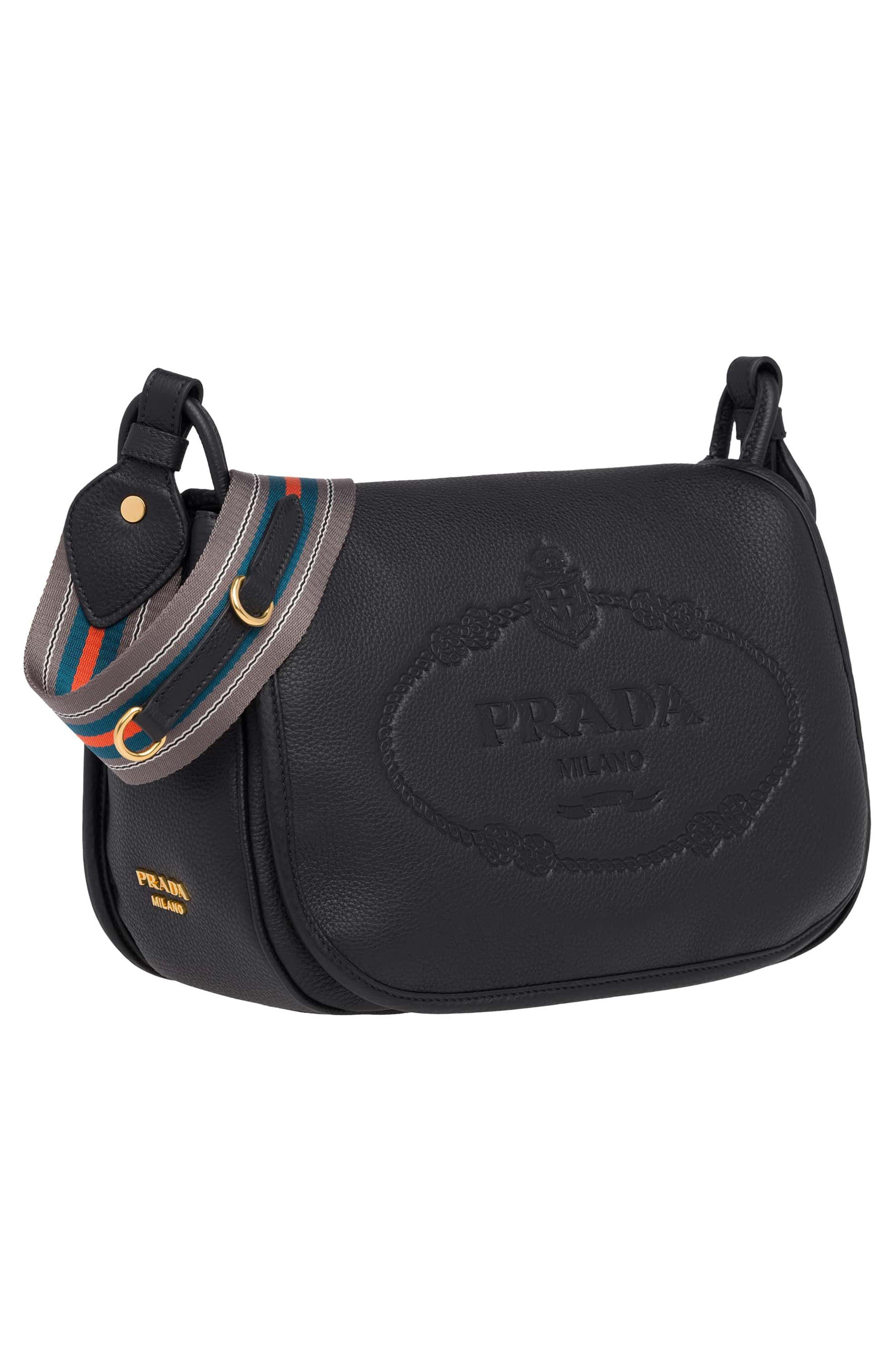 Vitello Daino Heritage Logo Leather Crossbody Bag,                             Alternate thumbnail 4, color,                             001