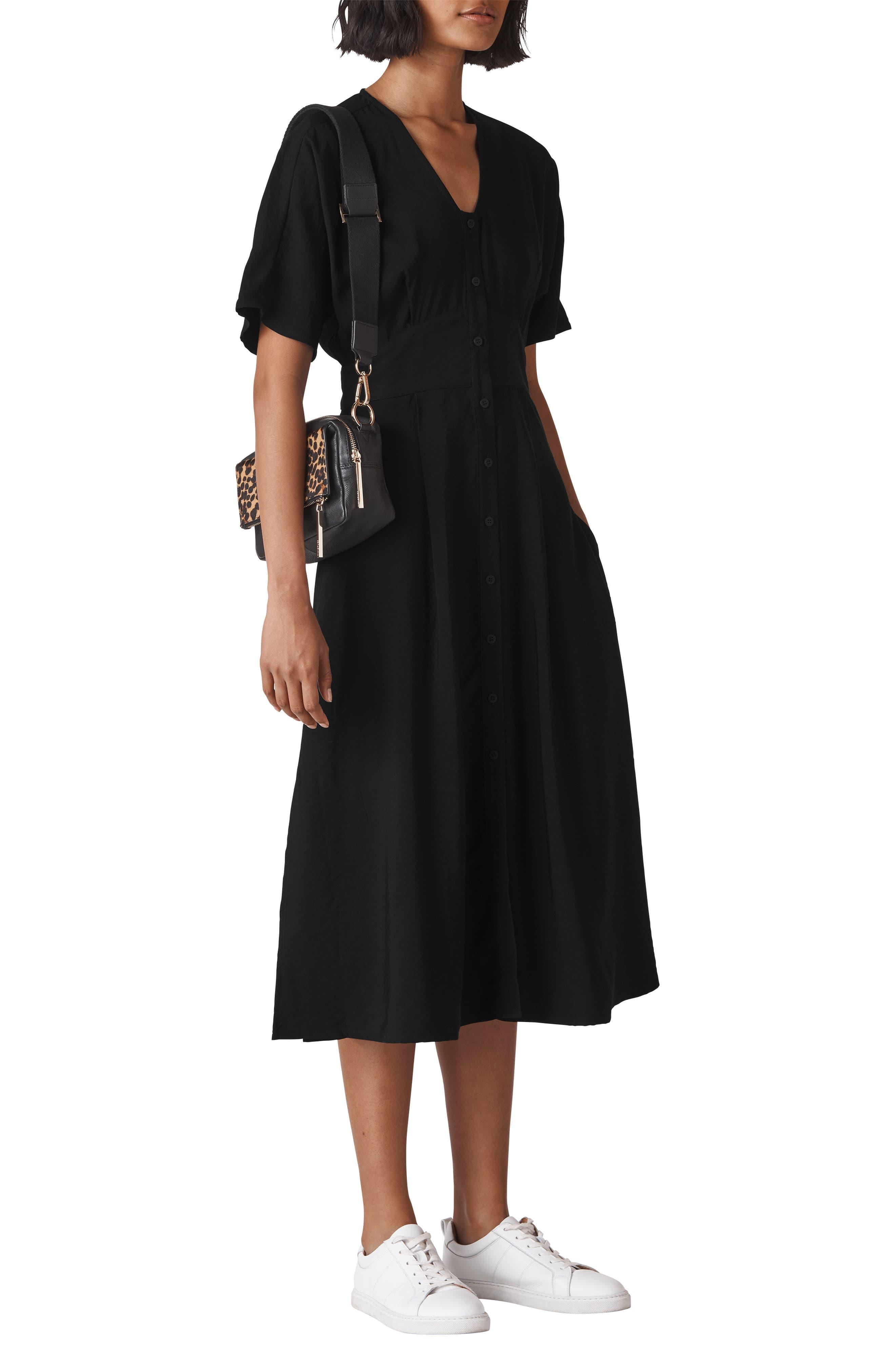WHISTLES,                             Naya Button Dress,                             Main thumbnail 1, color,                             001