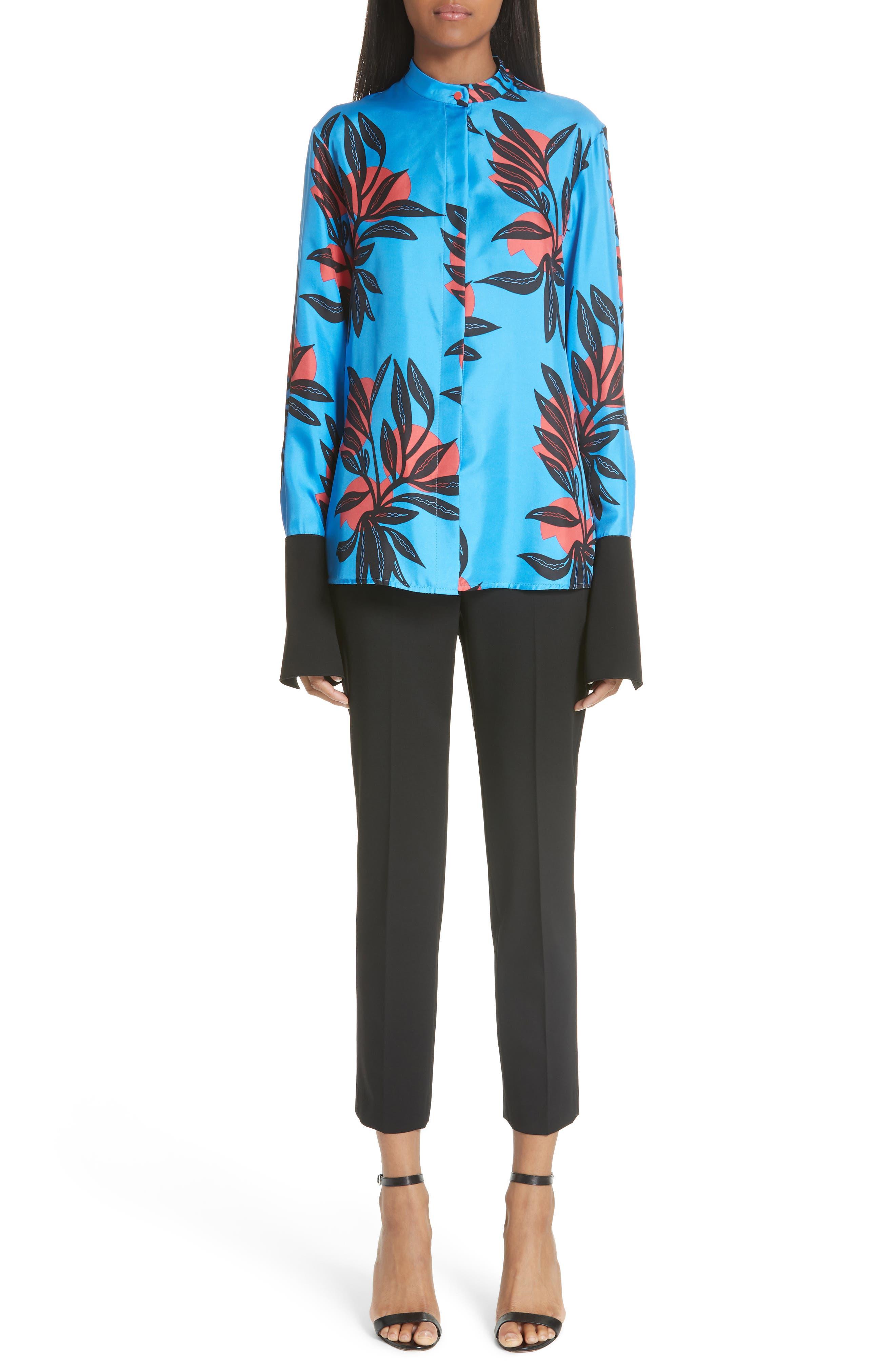 Imani Floral Print Silk Shirt,                             Alternate thumbnail 7, color,