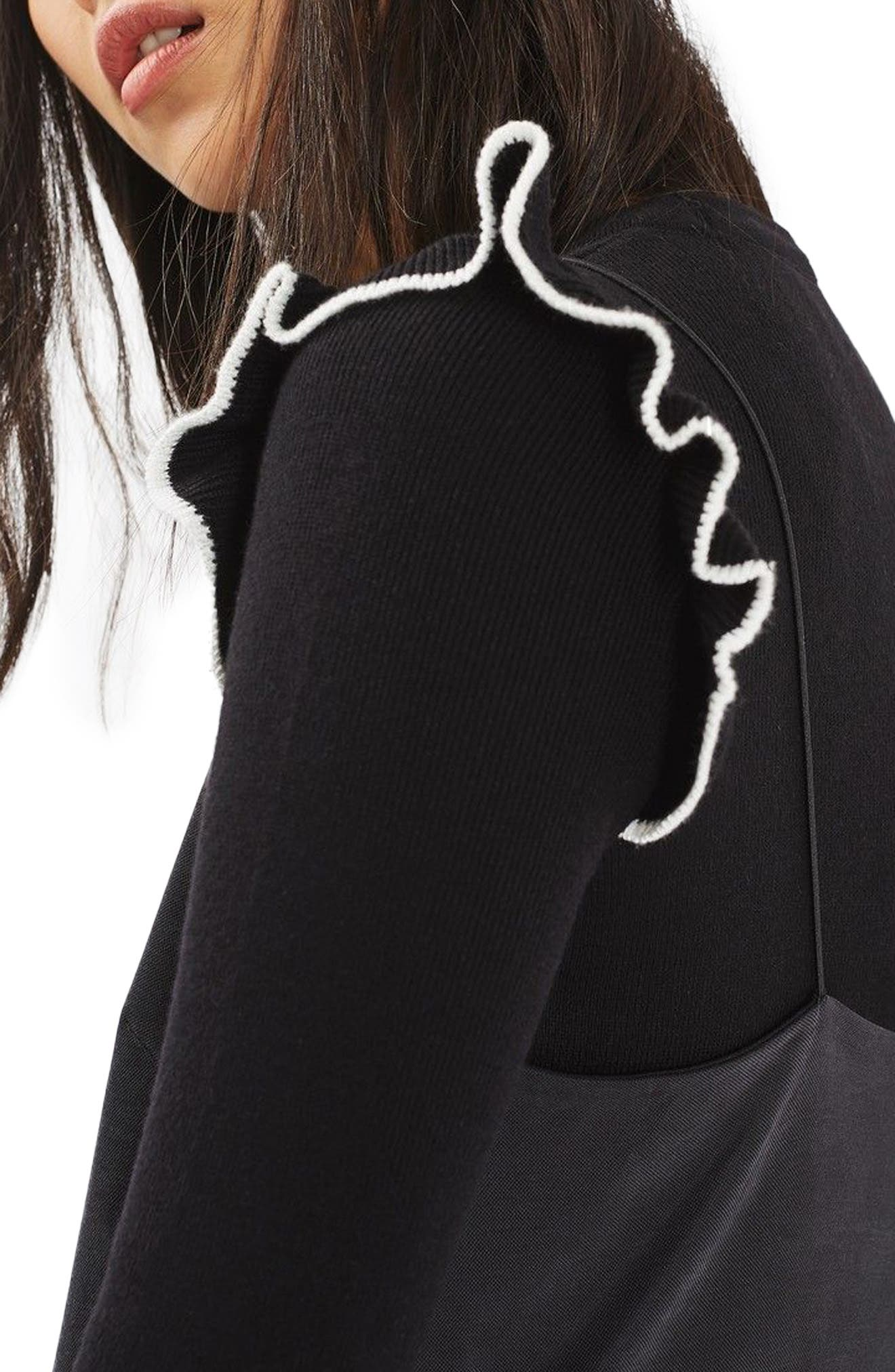 Tipped Ruffle Crop Sweater,                             Alternate thumbnail 2, color,                             001