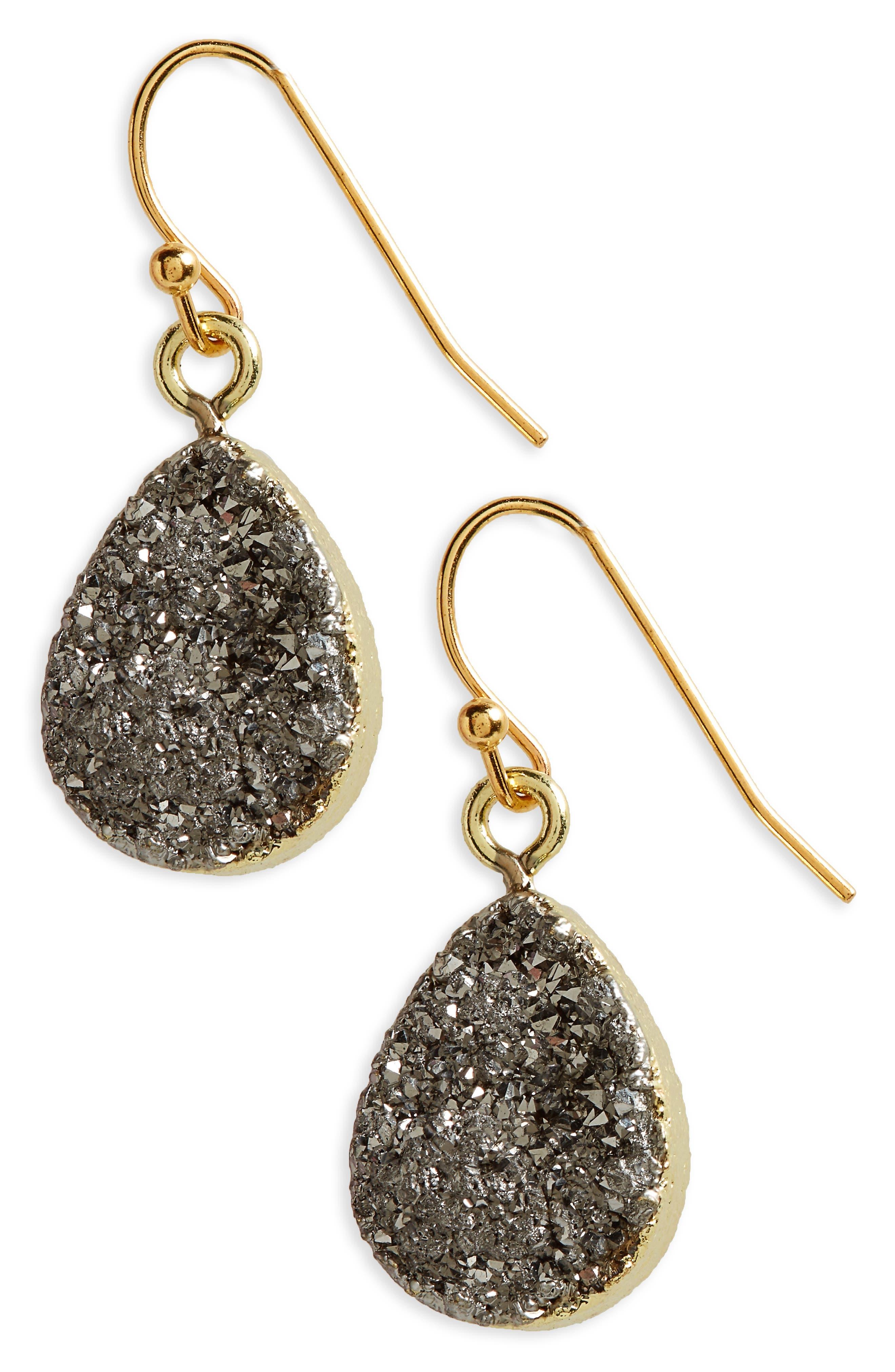 Teardrop Drusy Earrings,                         Main,                         color, 040