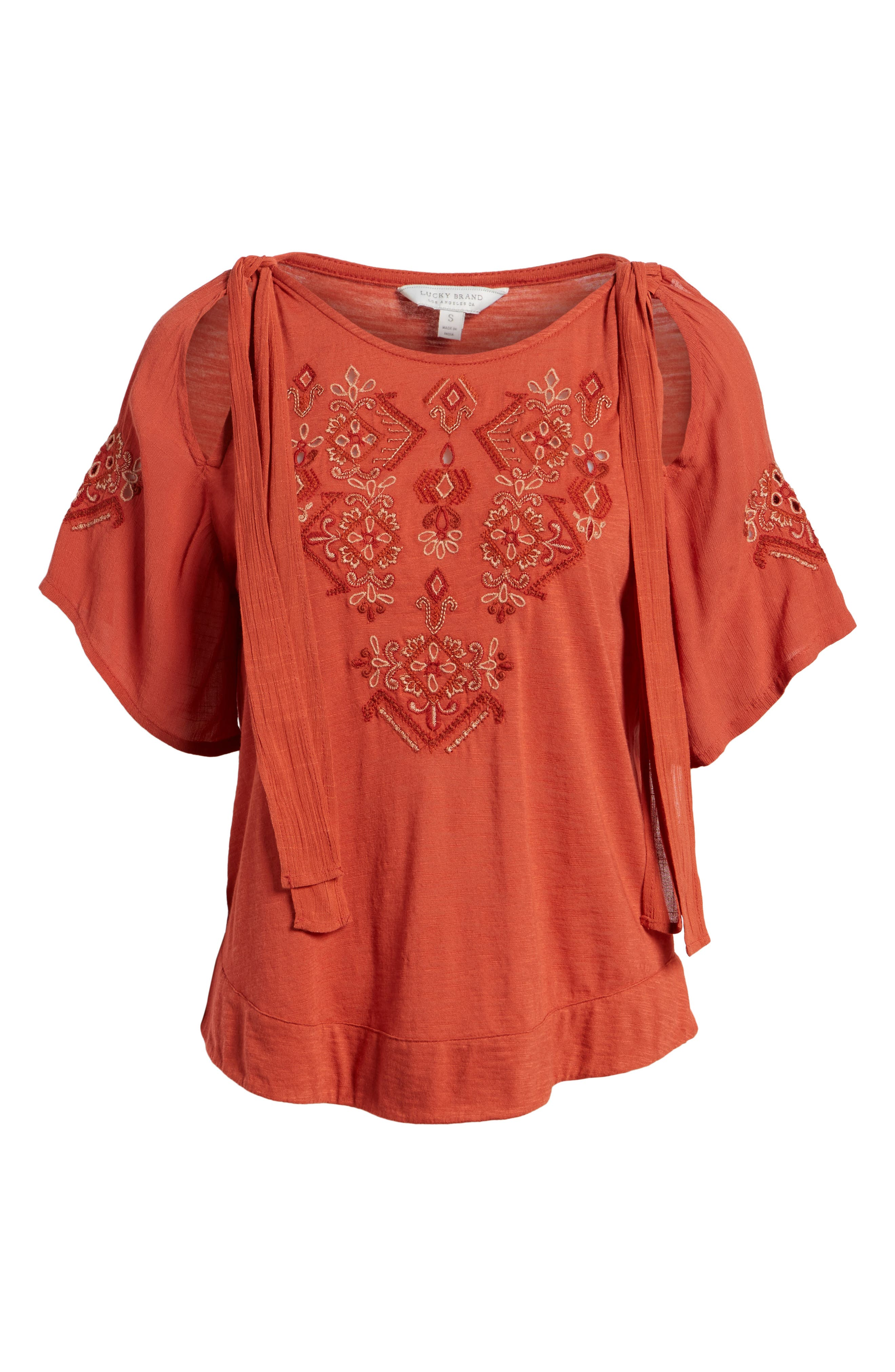 Tie Shoulder Embroidered Top,                             Alternate thumbnail 6, color,                             640