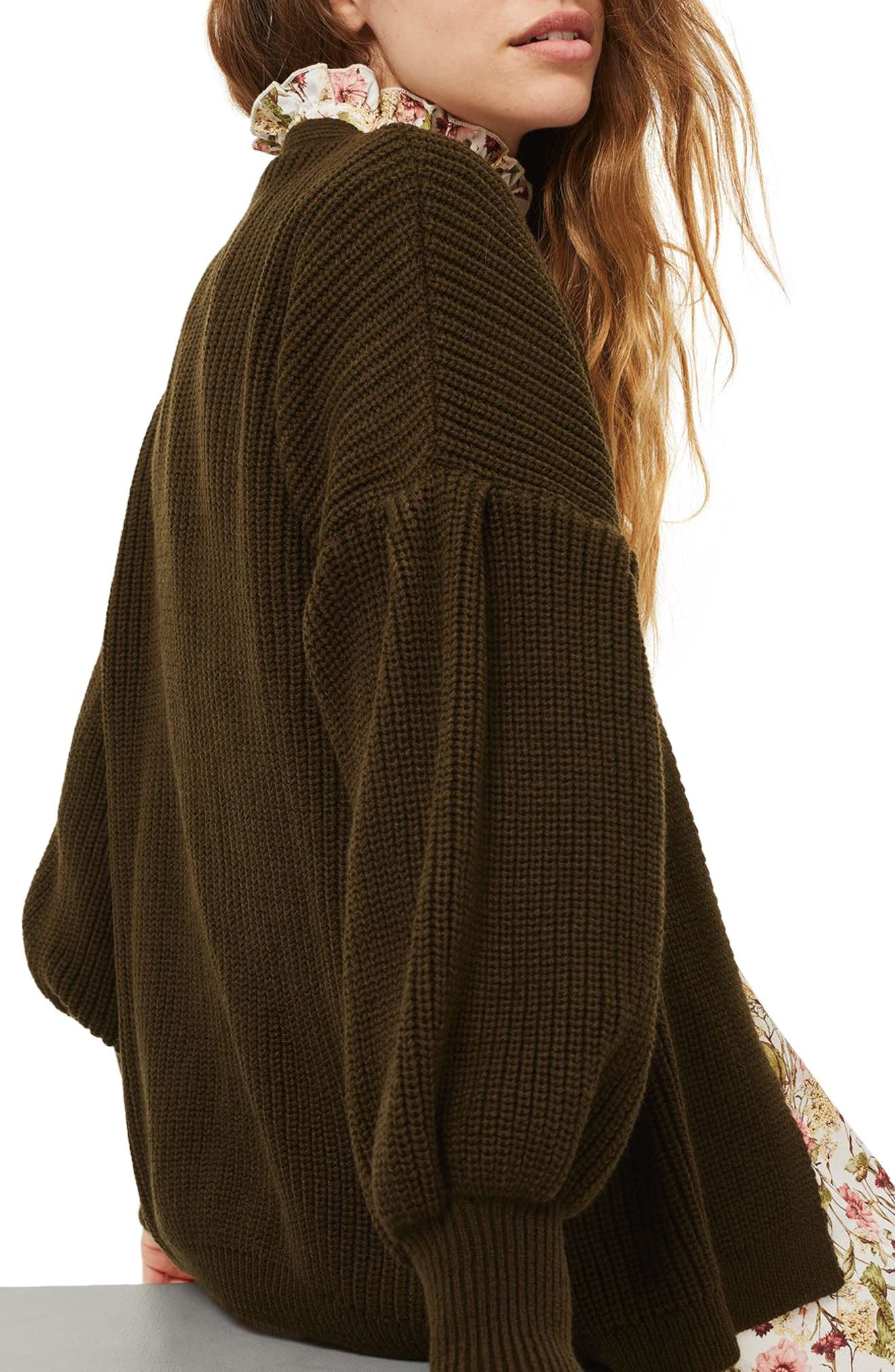 Pleated Balloon Sleeve Cardigan,                             Alternate thumbnail 2, color,