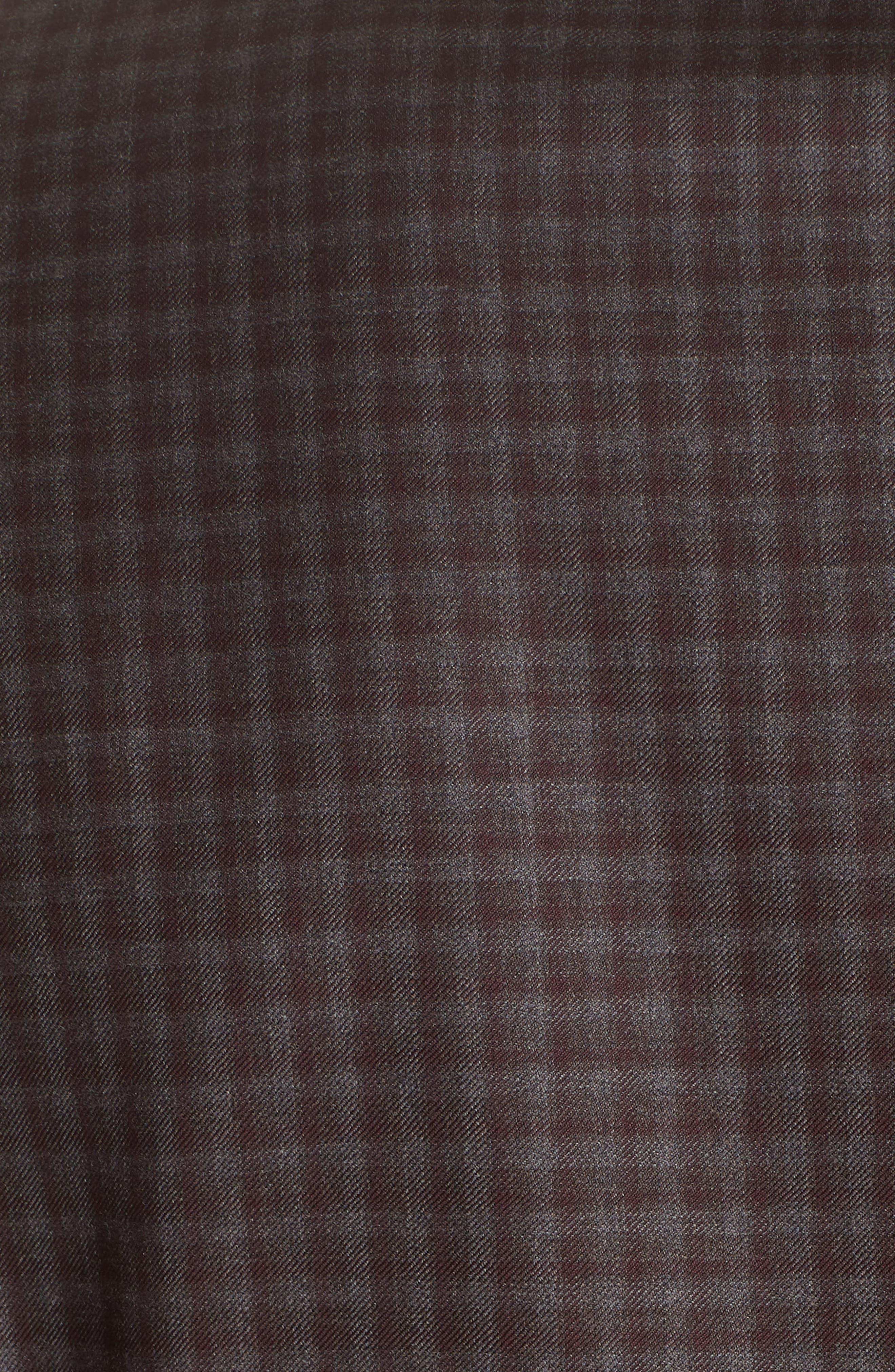 G-Line Trim Fit Plaid Wool Sport Coat,                             Alternate thumbnail 6, color,                             RED/ BROWN