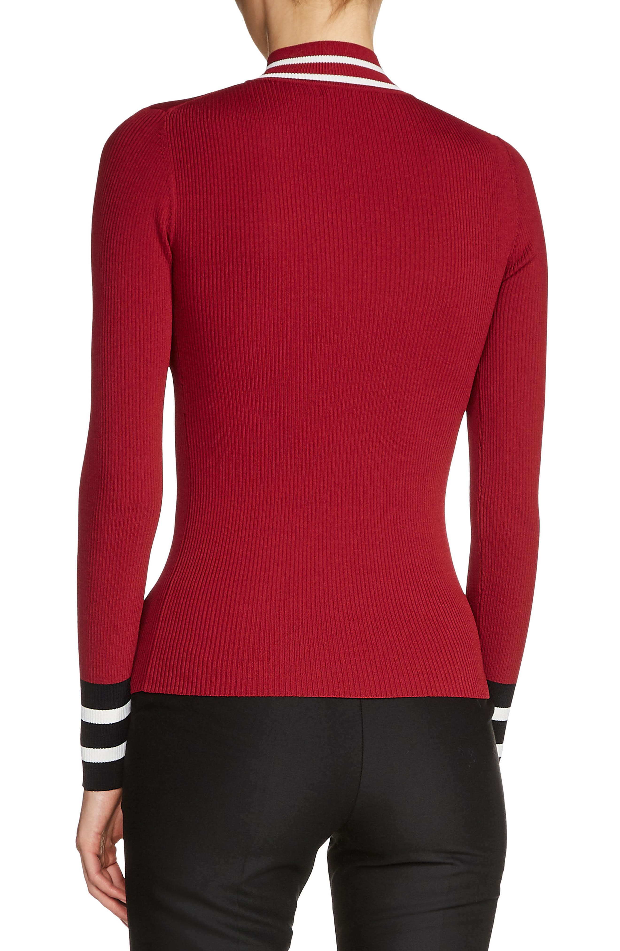 Zip Neck Ribbed Sweater,                             Alternate thumbnail 2, color,                             931