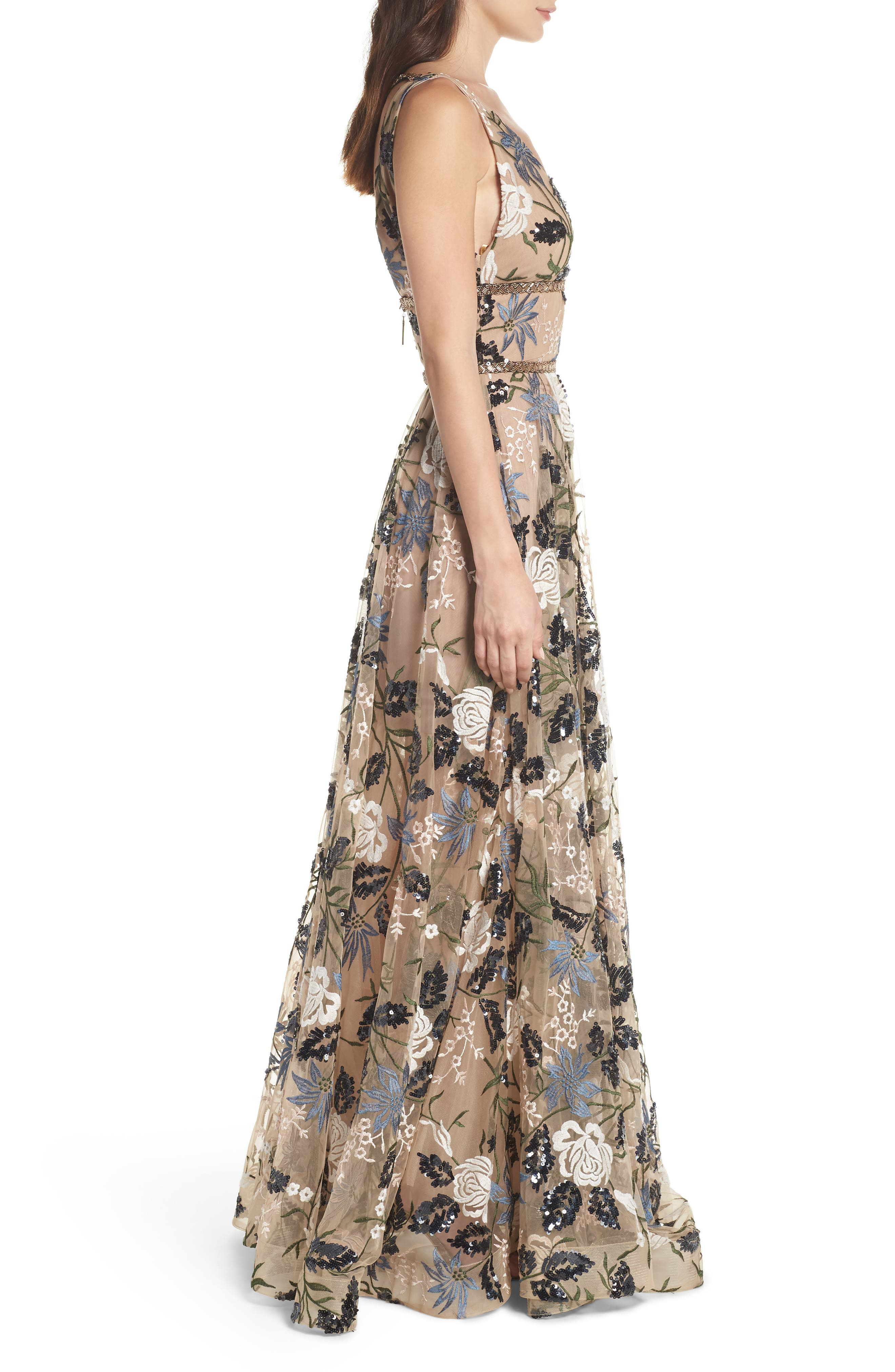 Tunisia Embroidered Plunge Neck Gown,                             Alternate thumbnail 3, color,                             255