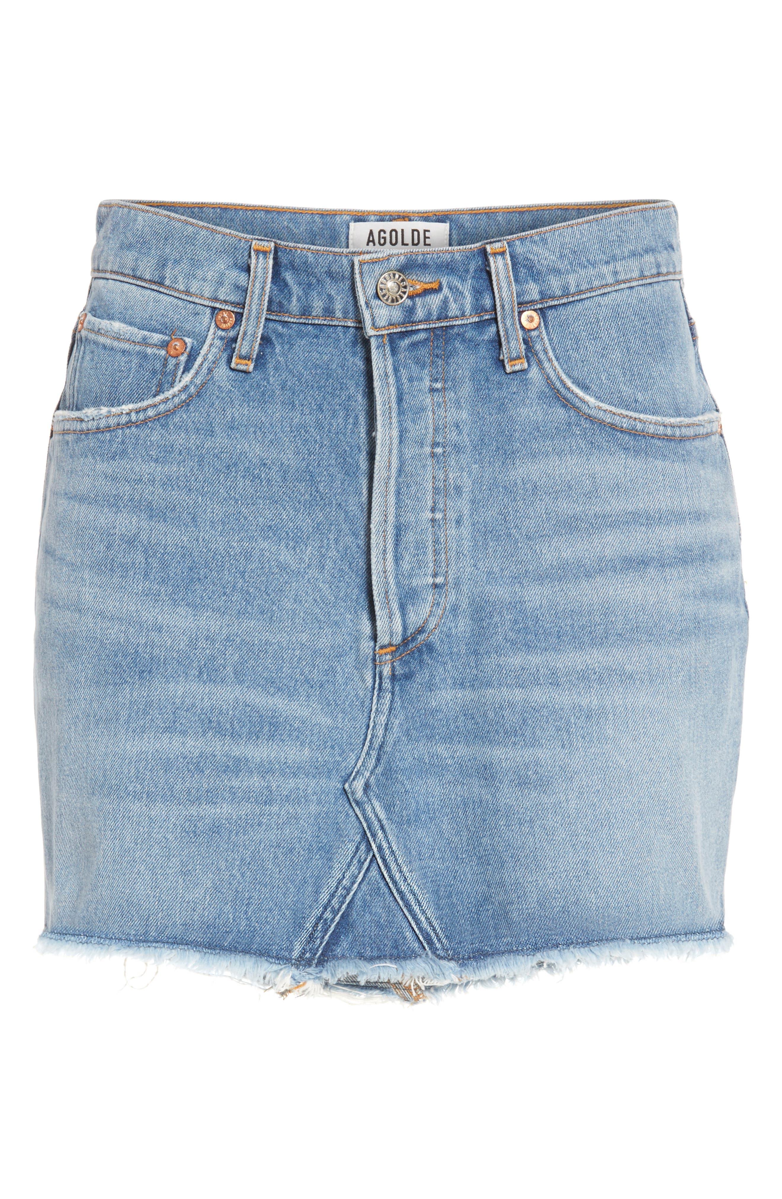 Quinn High Waist Denim Miniskirt,                             Alternate thumbnail 6, color,