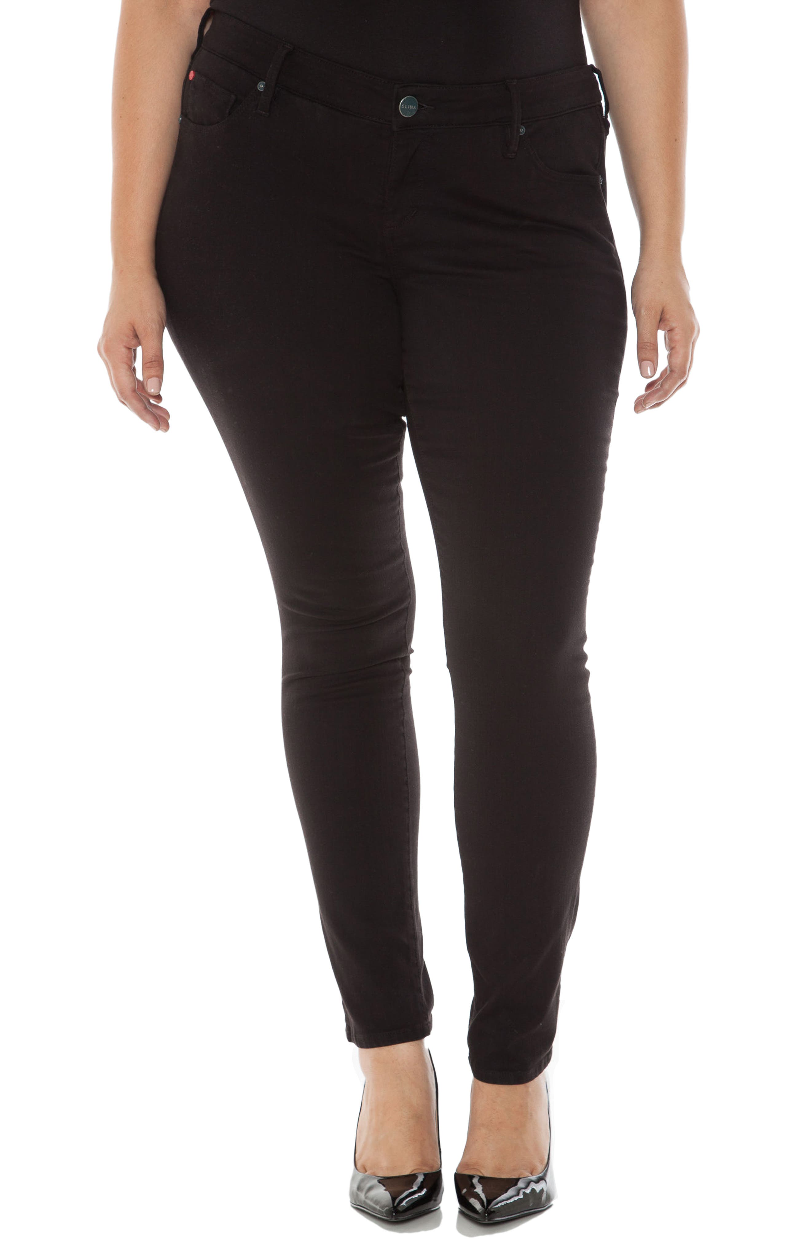 'The Skinny' Stretch Denim Jeans,                             Main thumbnail 1, color,                             BLACK
